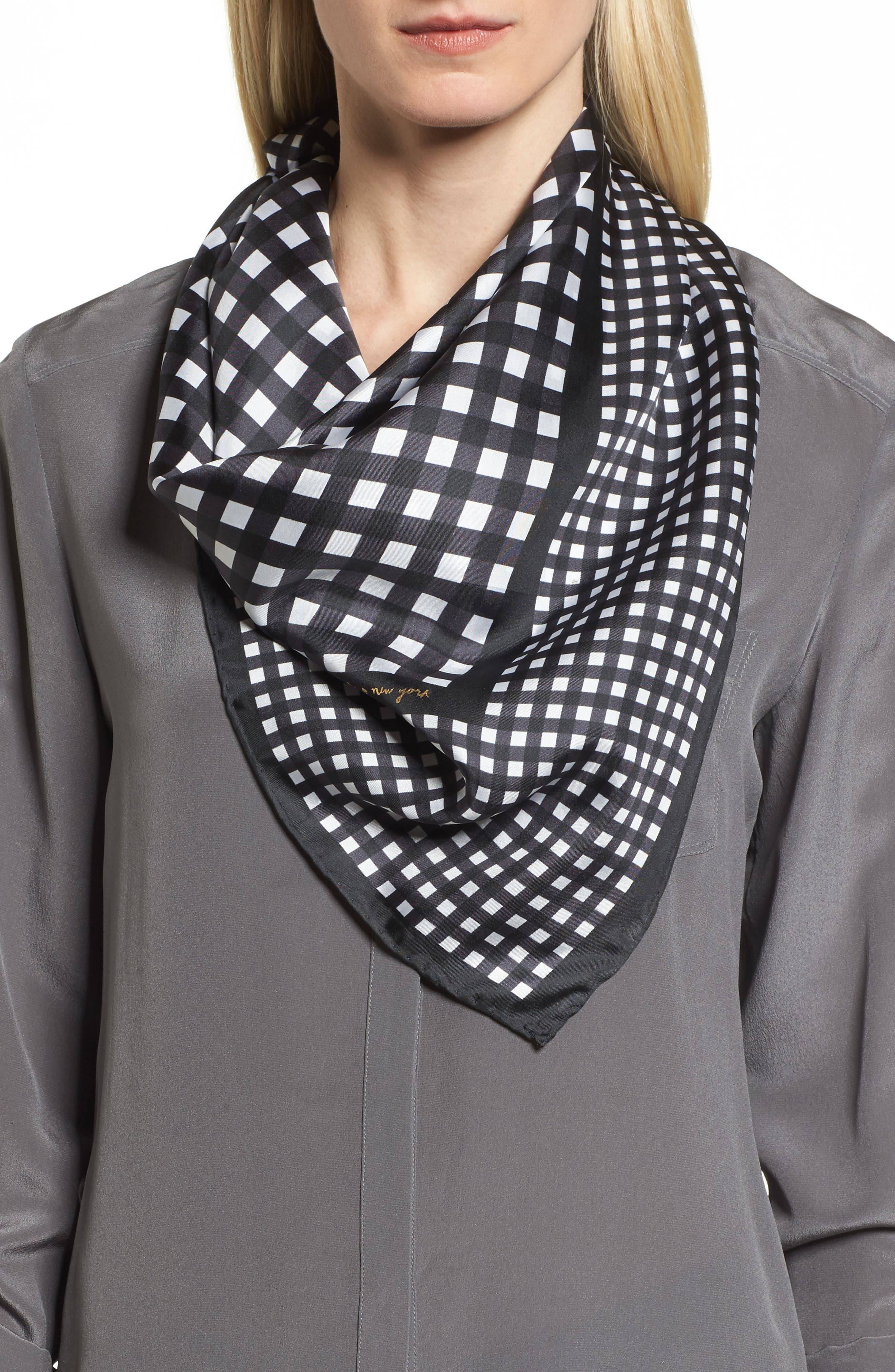 gingham square silk scarf,                         Main,                         color, Black