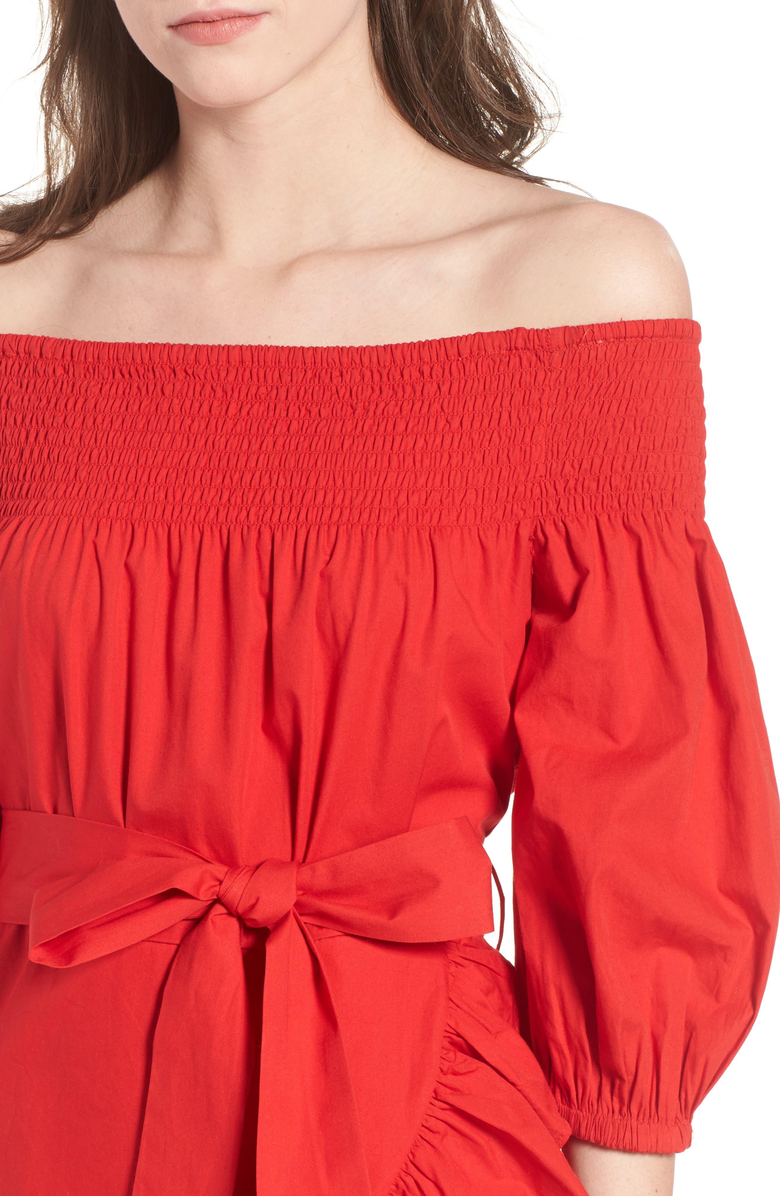 Maida Faux Wrap Ruffle Dress,                             Alternate thumbnail 4, color,                             Poppy