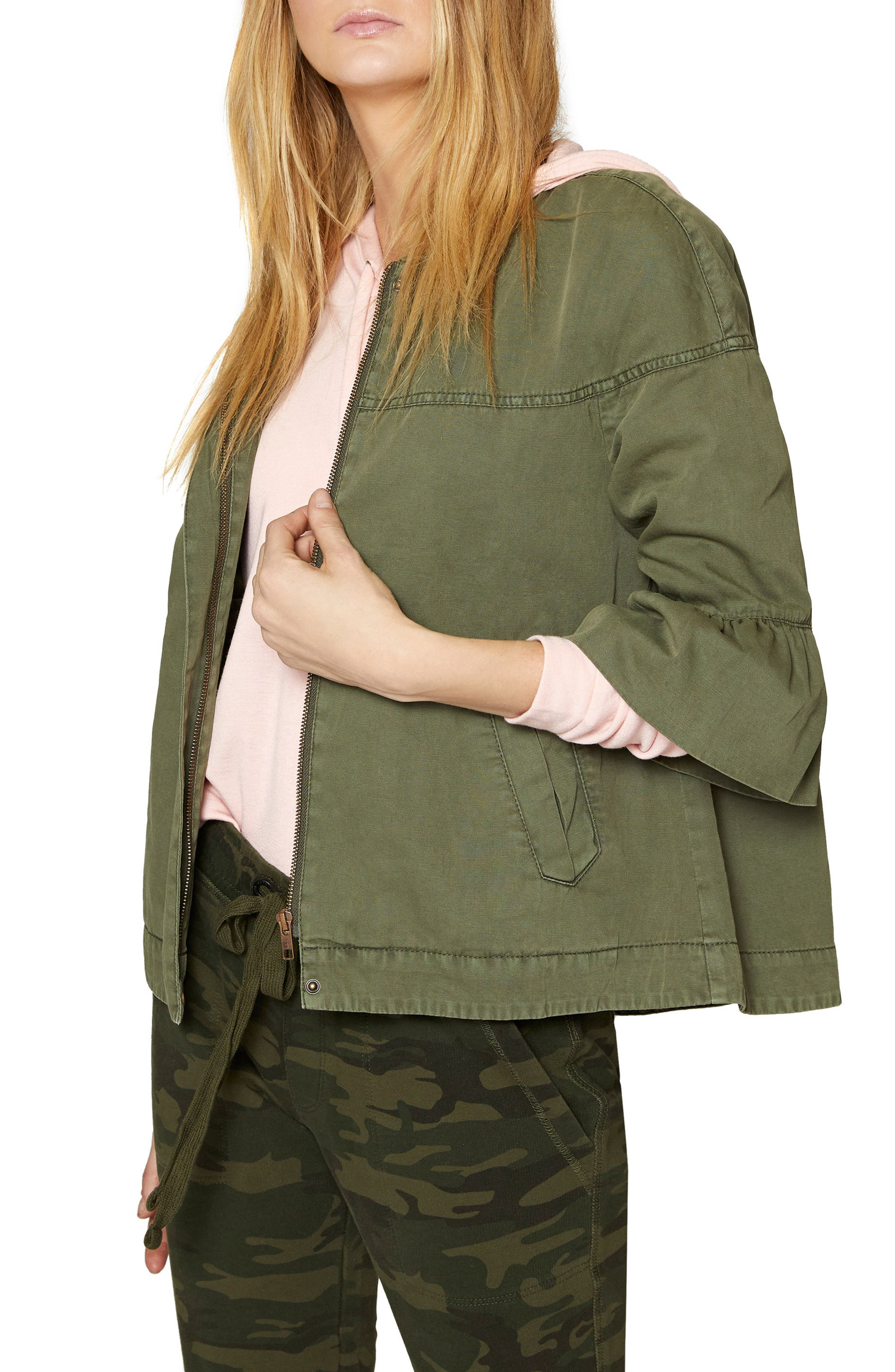 Scout Ruffle Sleeve Jacket,                         Main,                         color, Cadet