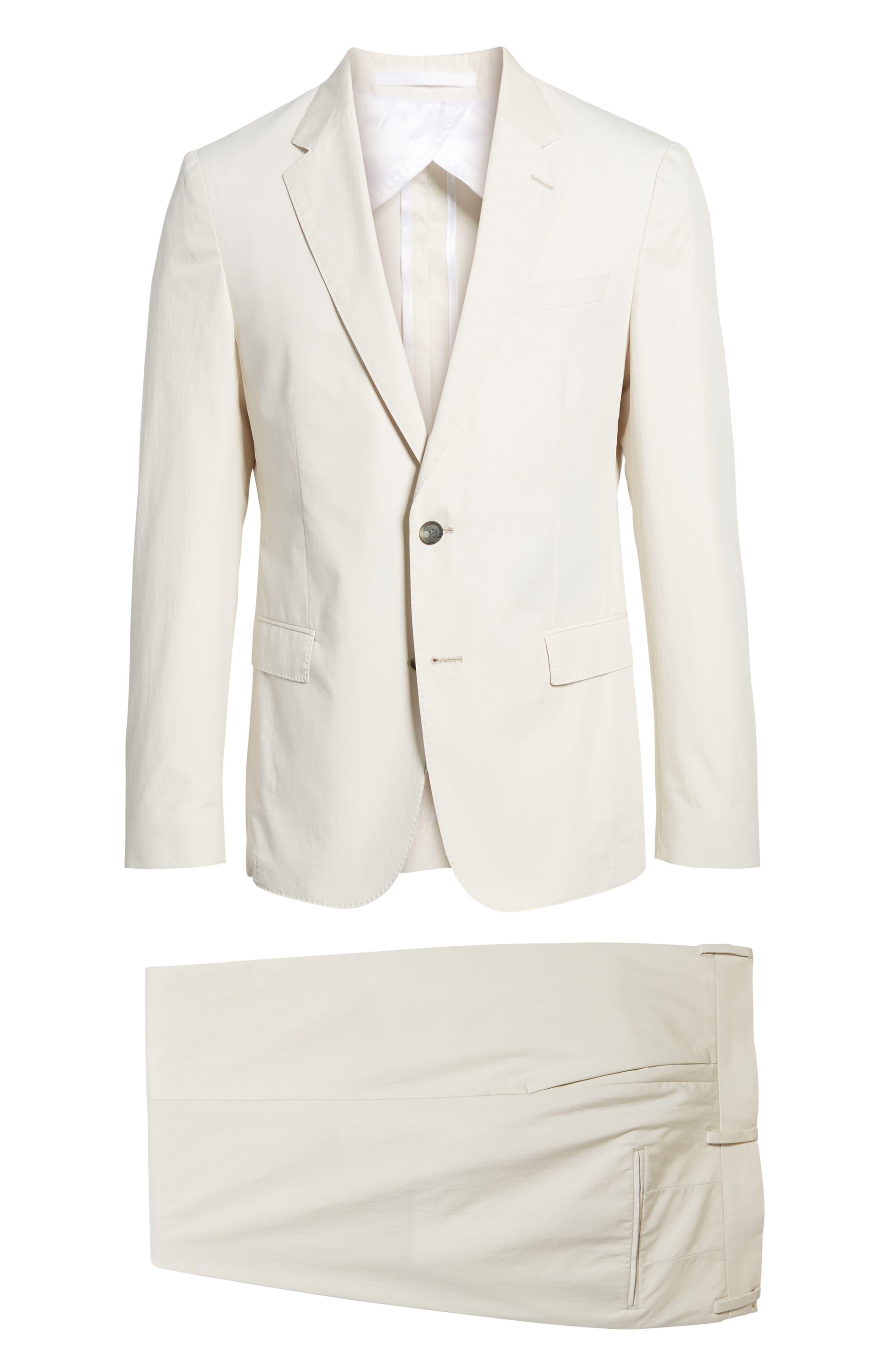 Nylen/Perry Trim Fit Solid Cotton Suit,                             Alternate thumbnail 8, color,                             Ivory