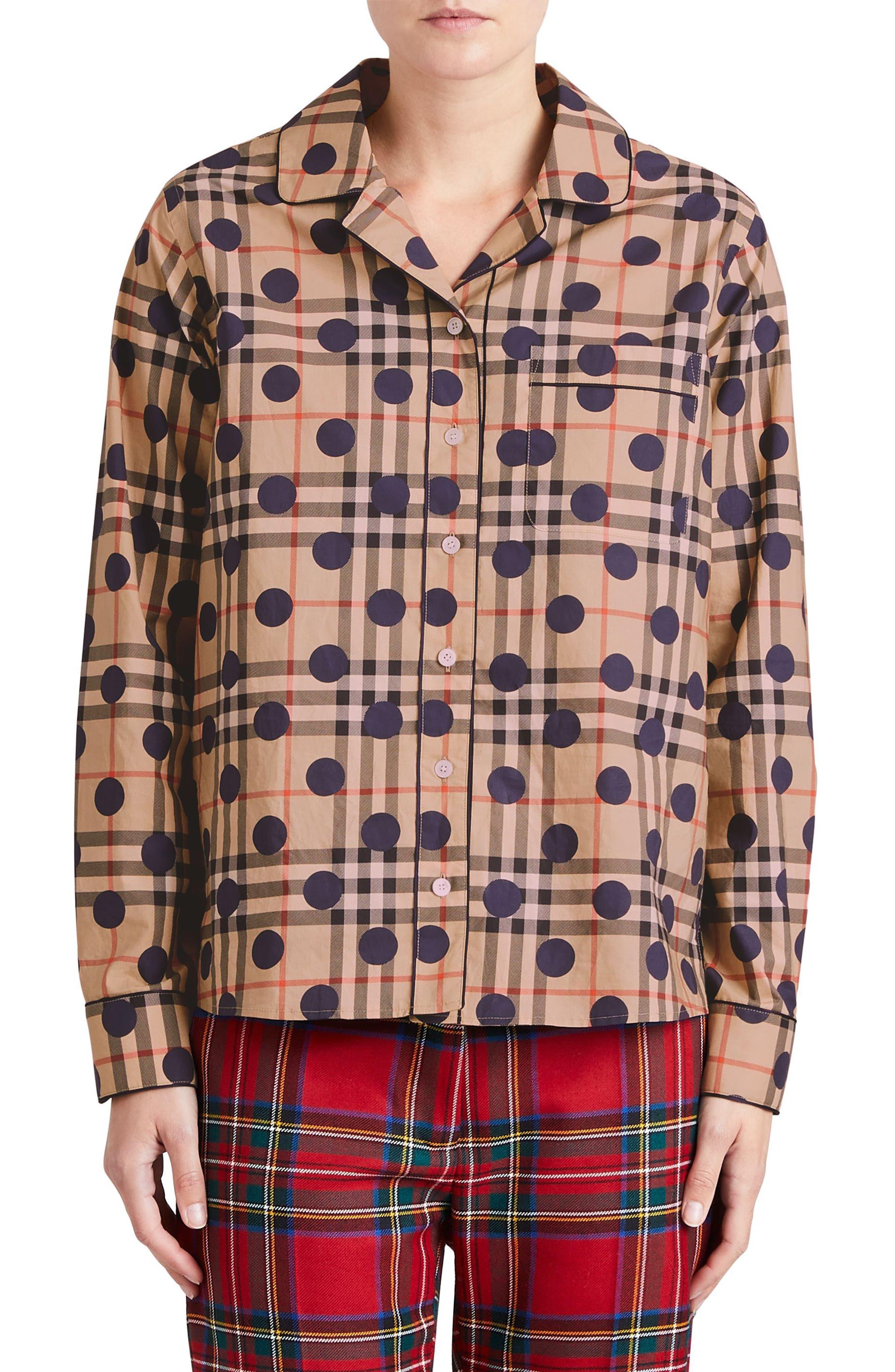 Polka Dot Check Print Cotton Shirt,                             Main thumbnail 1, color,                             Camel Multi