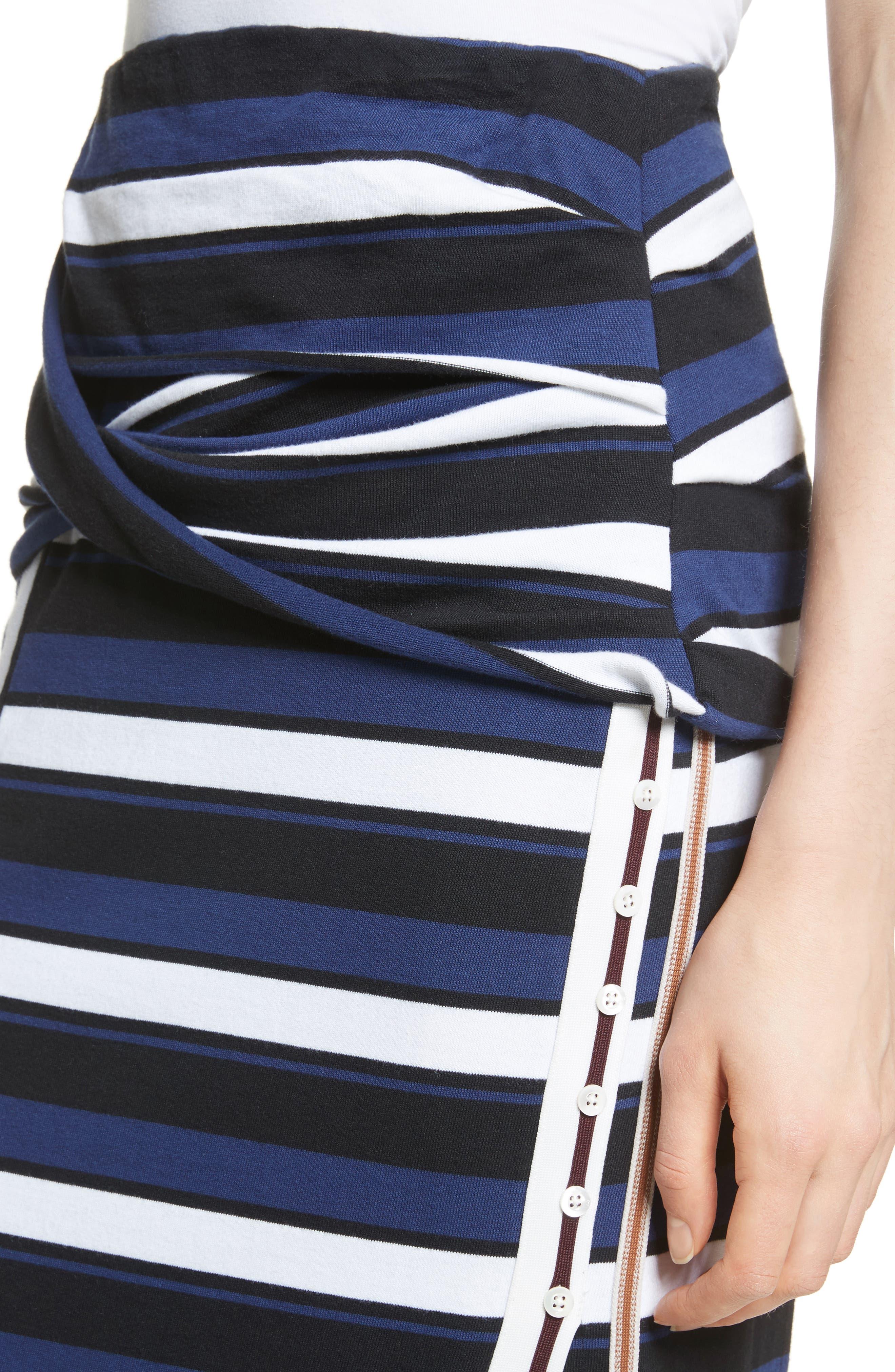 Stripe Maxi Skirt,                             Alternate thumbnail 4, color,                             Cobalt-Black