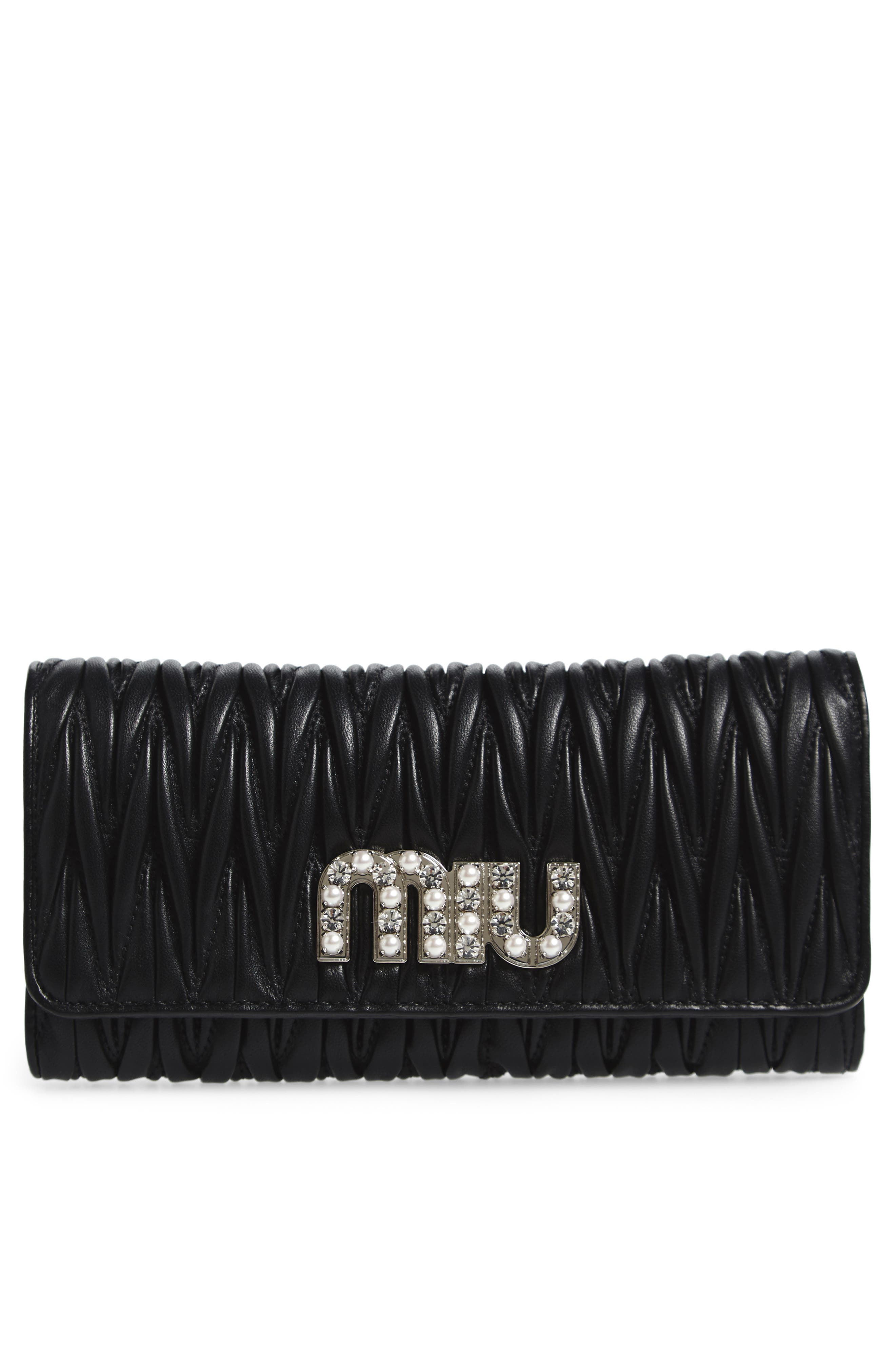 Alternate Image 1 Selected - Miu Miu Embellished Logo Matelassé Leather Continental Wallet
