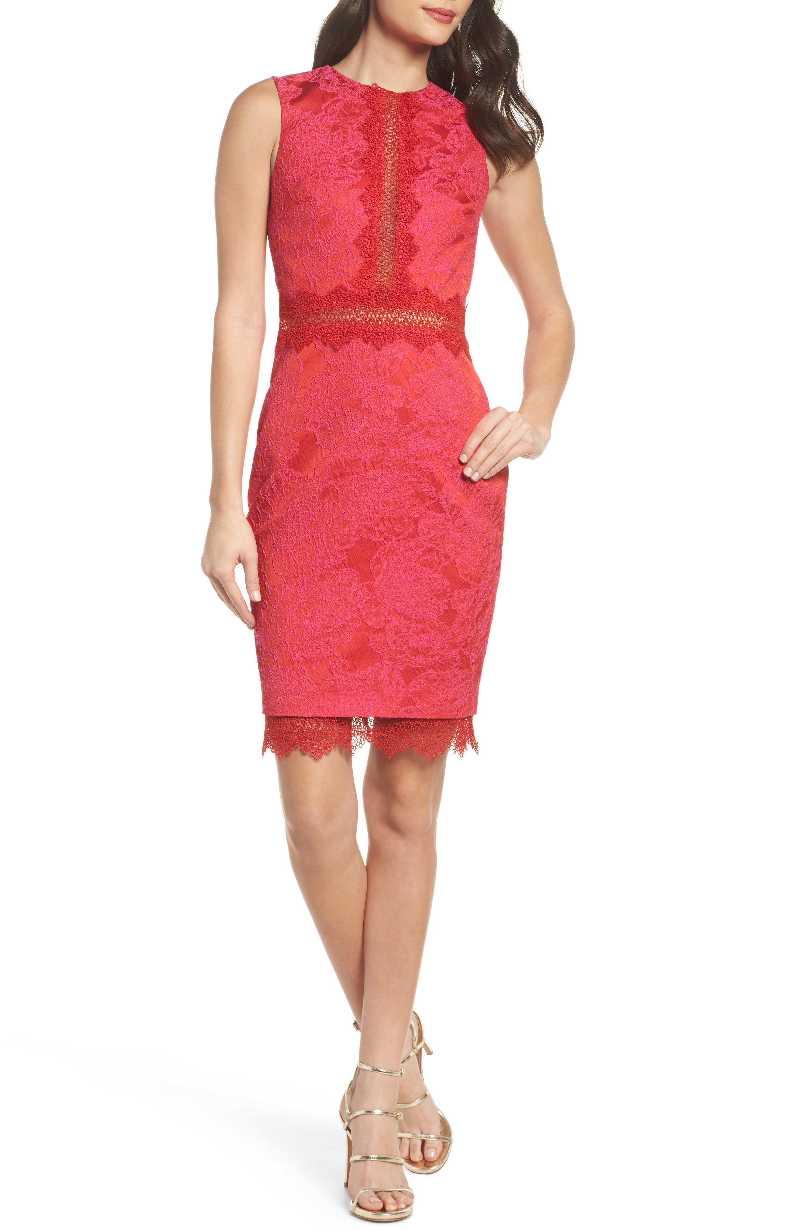 Lace Panel Sheath Dress,                         Main,                         color, Red Multi