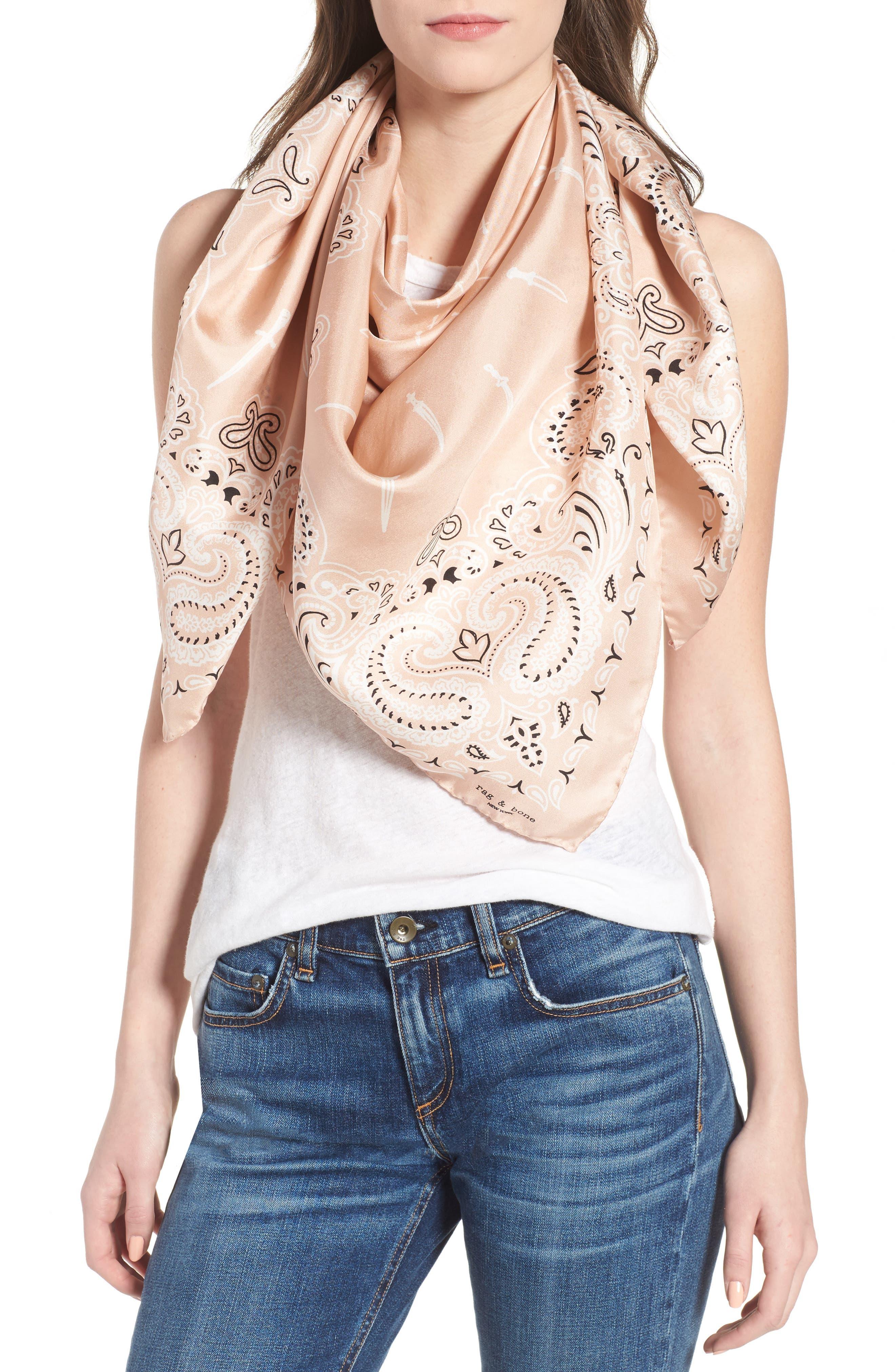 rag & bone Dagger Print Silk Bandana Scarf