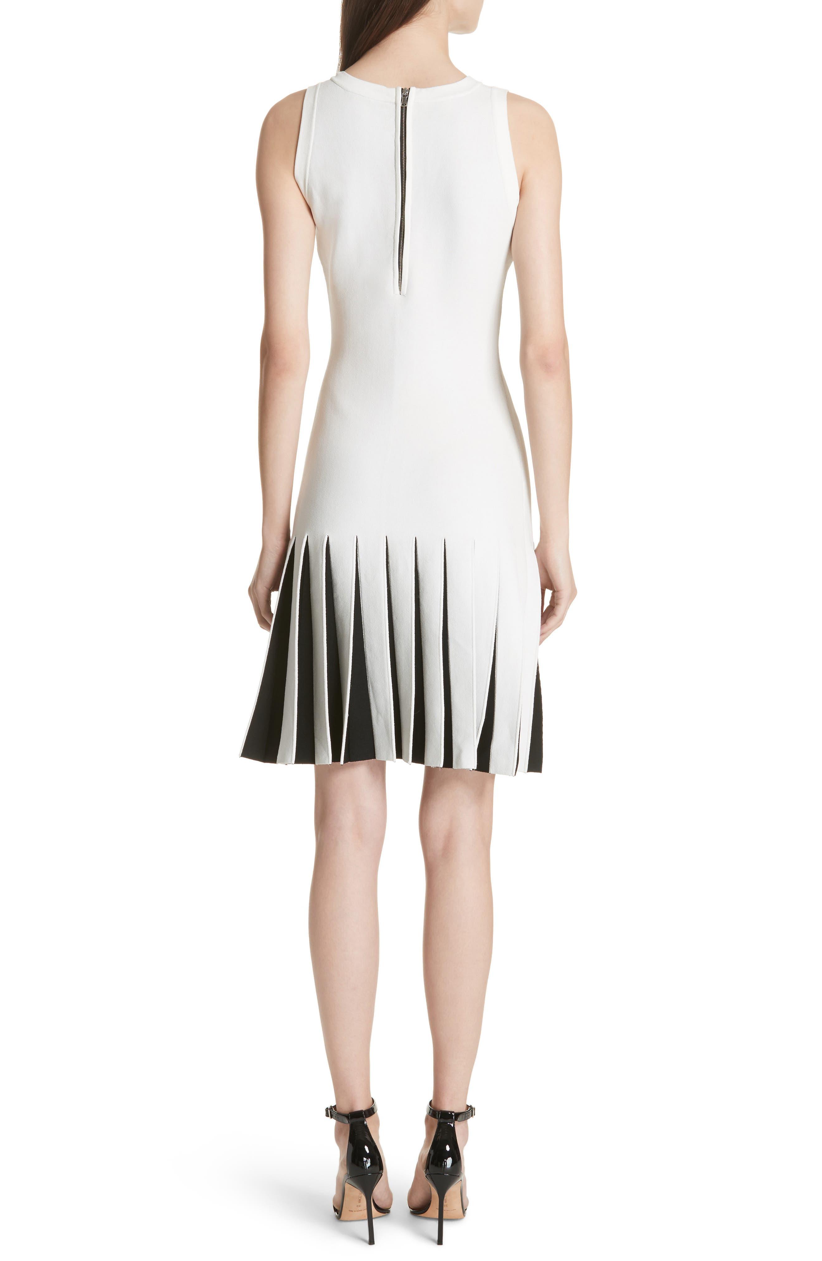 Pleated Contrast Drop Waist Dress,                             Alternate thumbnail 2, color,                             White/ Black