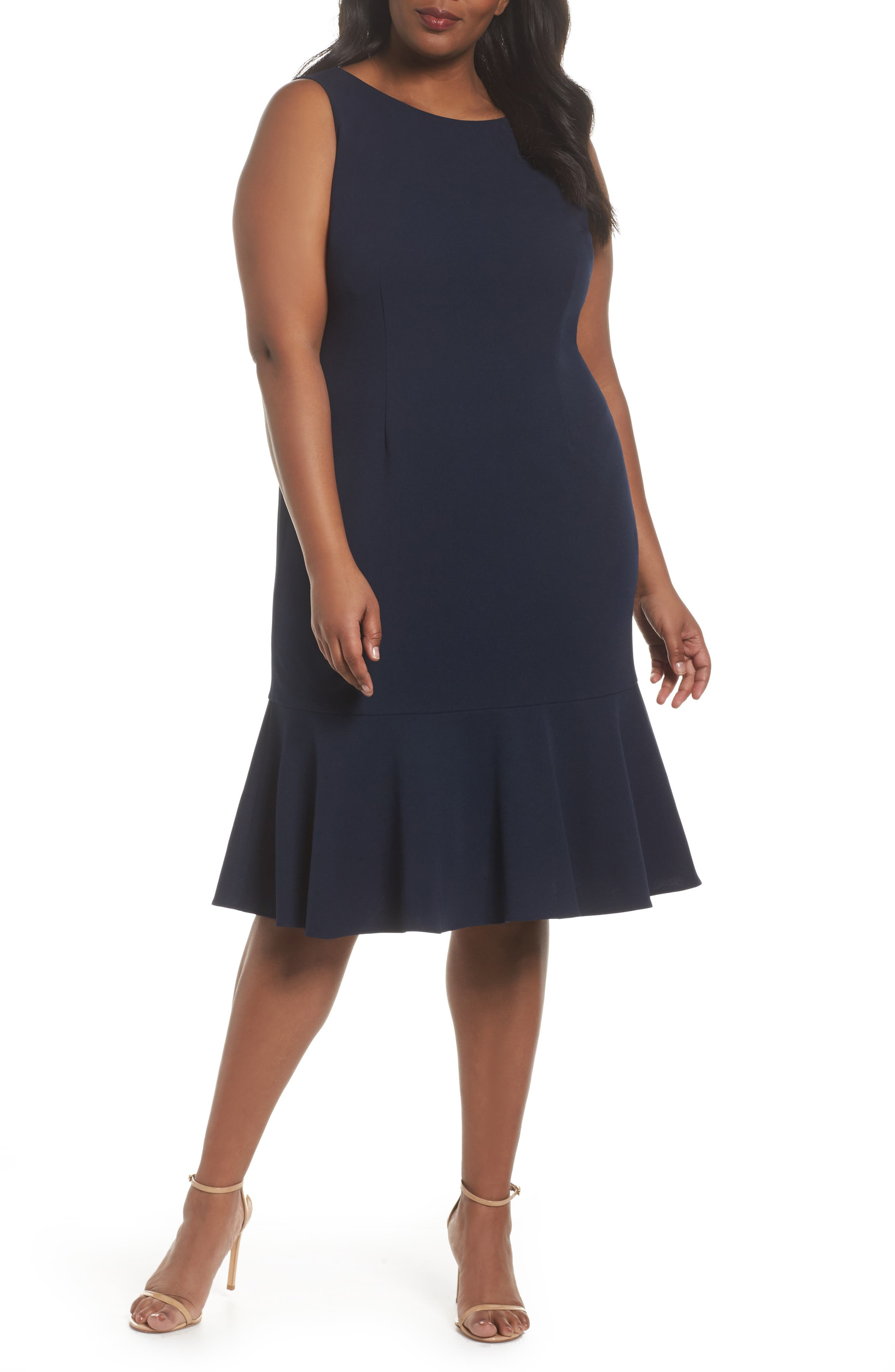 Crepe Flounce Dress,                         Main,                         color, Blue Moon