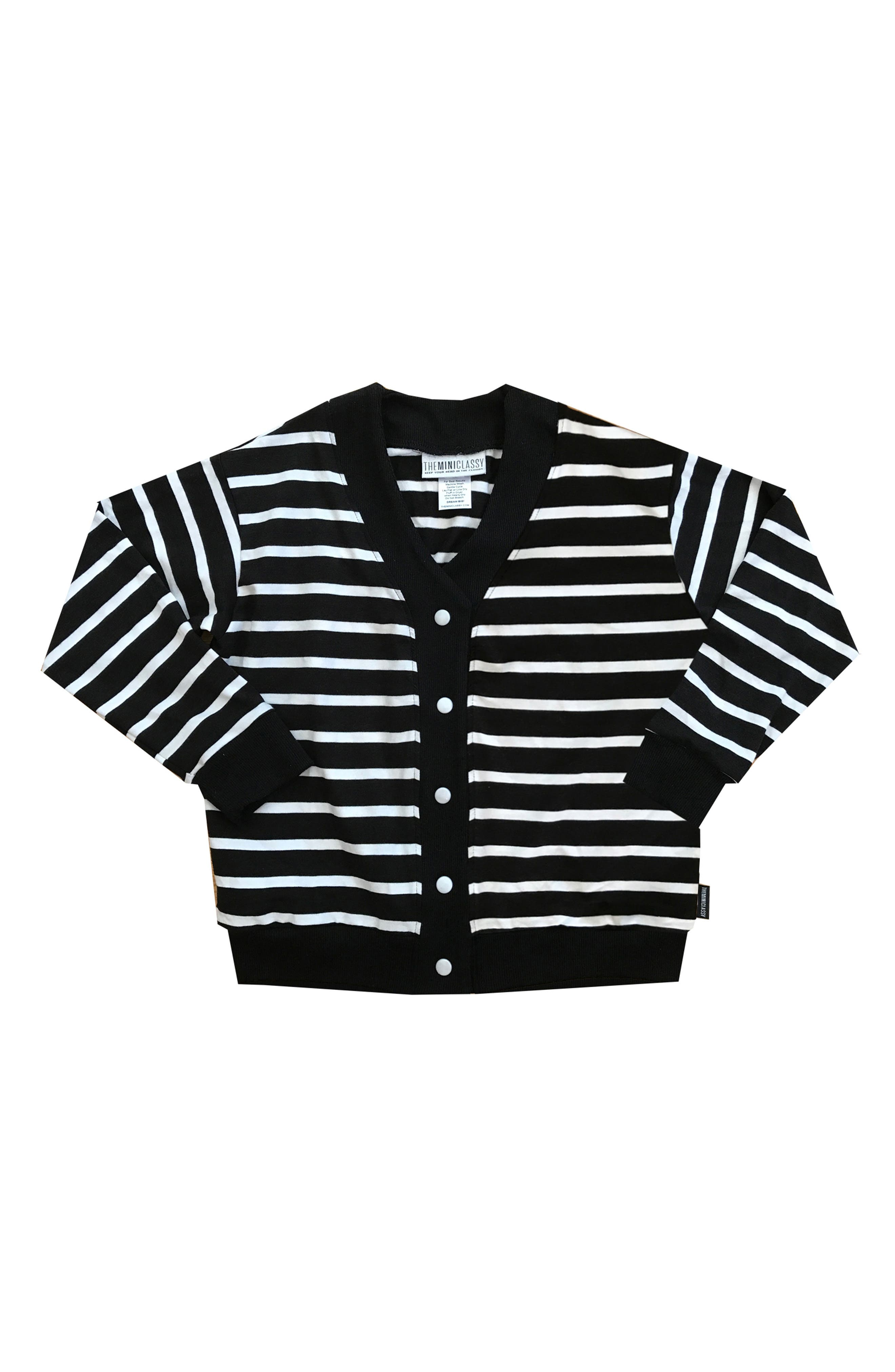 Stripe Cardigan Sweater,                         Main,                         color, Black/ White