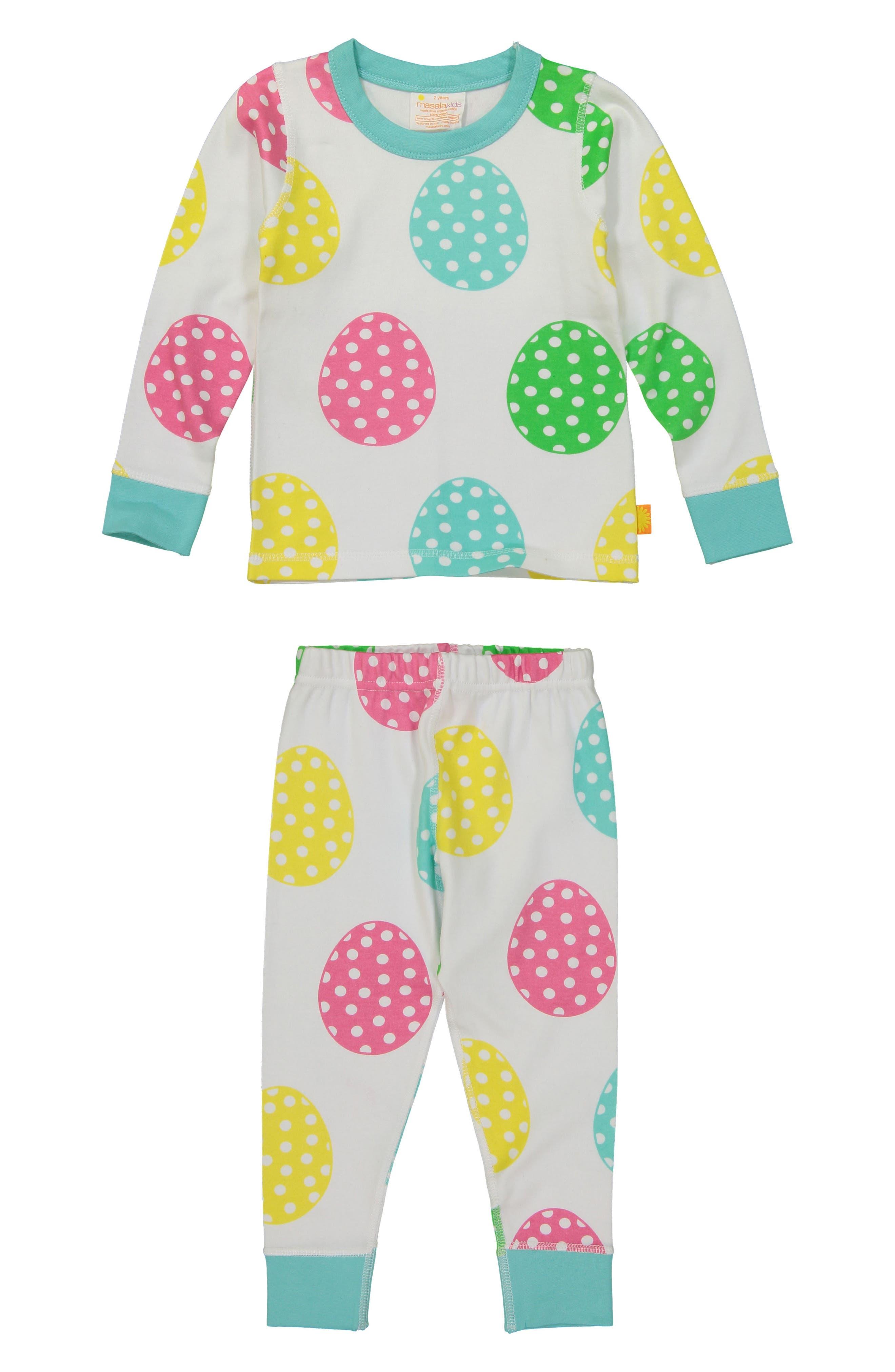 Main Image - Masala Baby Rainbow Eggs Organic Cotton Fitted Two-Piece Pajamas (Toddler Girls, Little Girls & Big Girls)