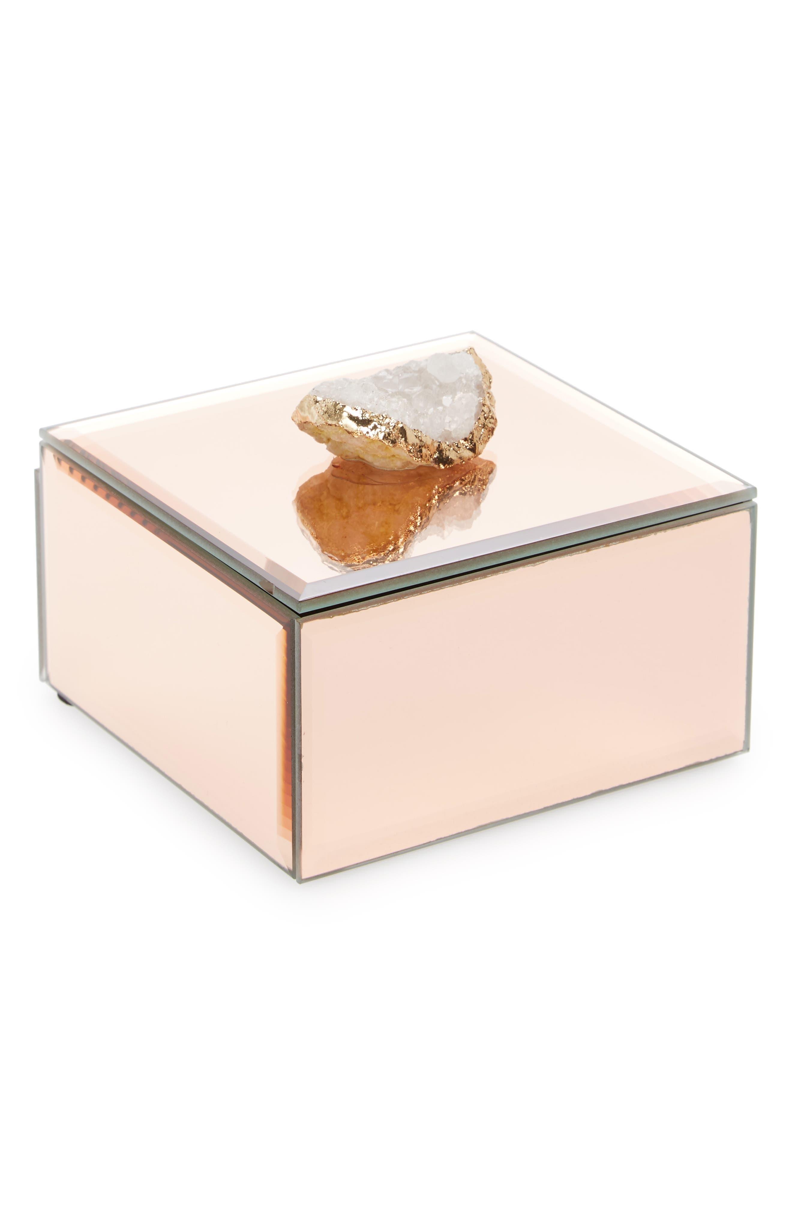 Agate Mirror Box,                         Main,                         color, Gold