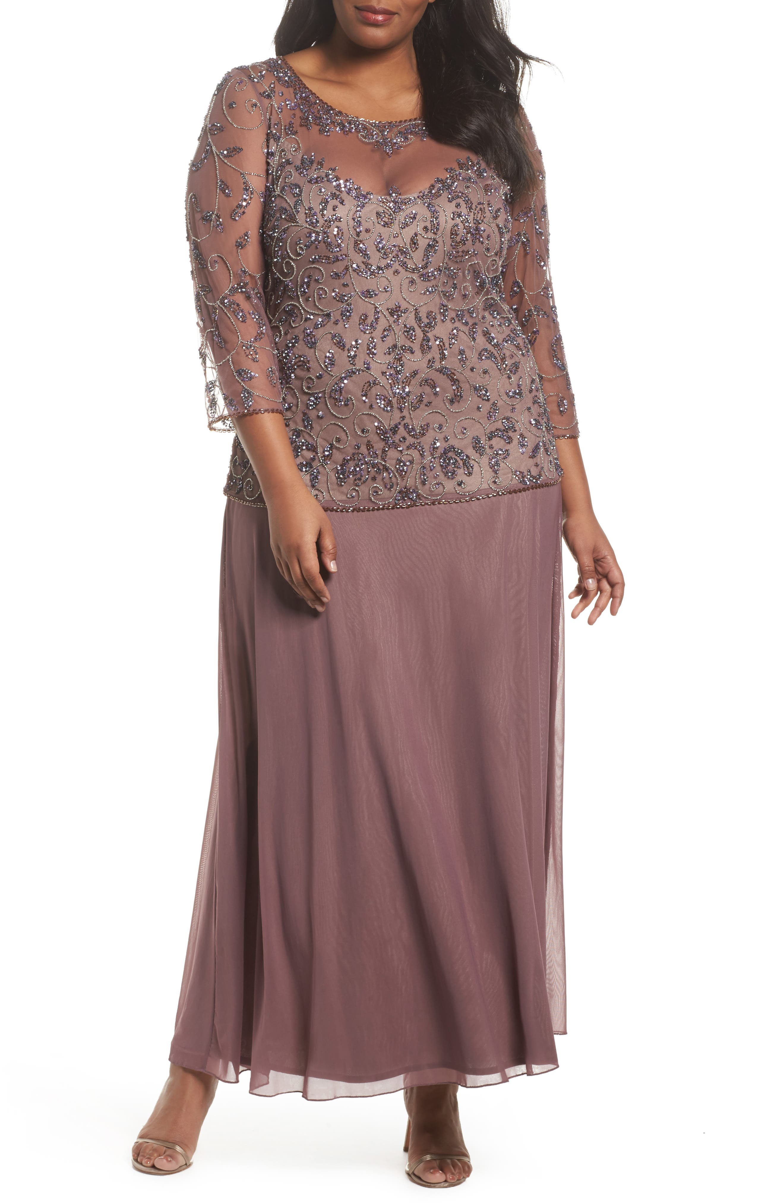 Pissaro Nights Beaded Mesh Mock Two-Piece Gown,                         Main,                         color, Lavender