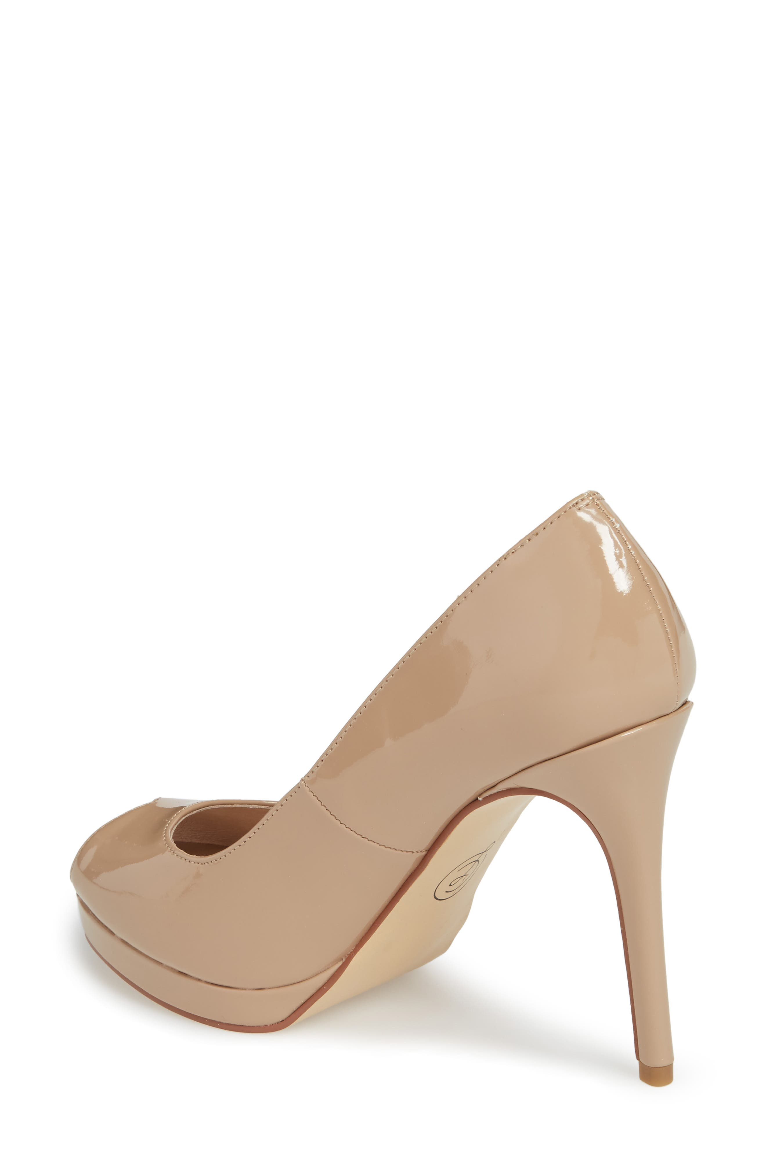 Fia Peep Toe Pump,                             Alternate thumbnail 2, color,                             Nude Patent