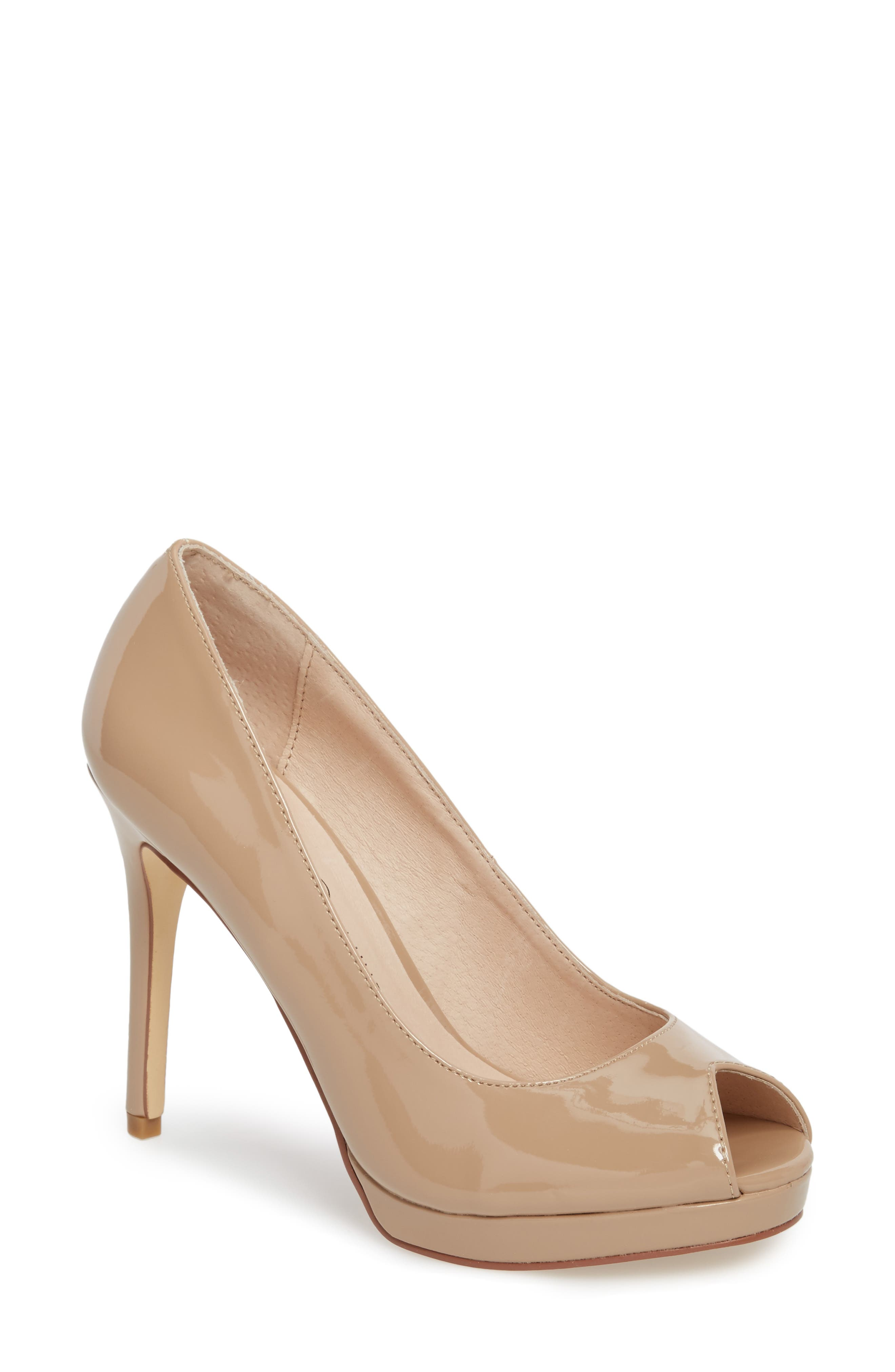 Fia Peep Toe Pump,                             Main thumbnail 1, color,                             Nude Patent