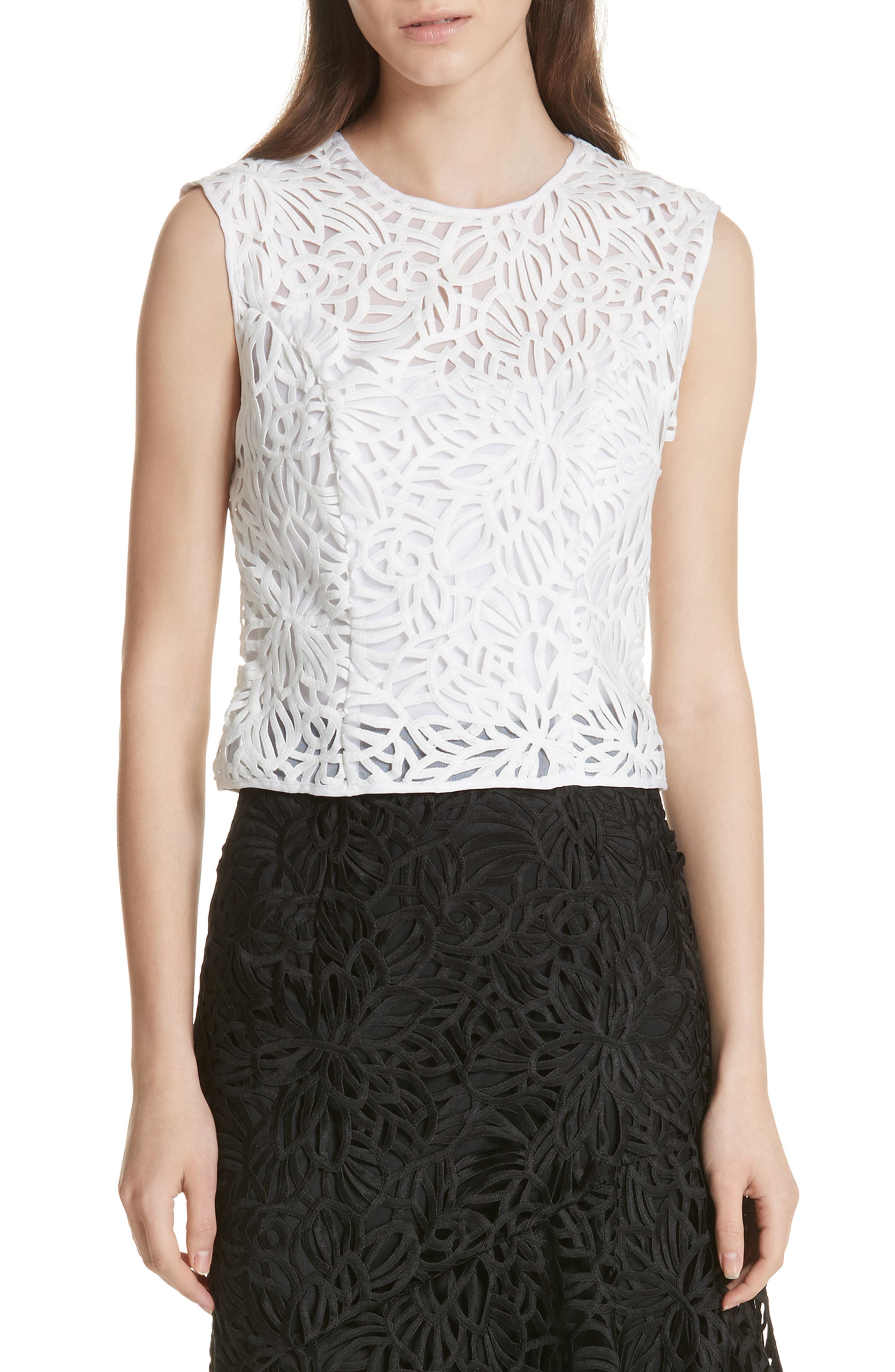 Irena Lace Top,                             Main thumbnail 1, color,                             White