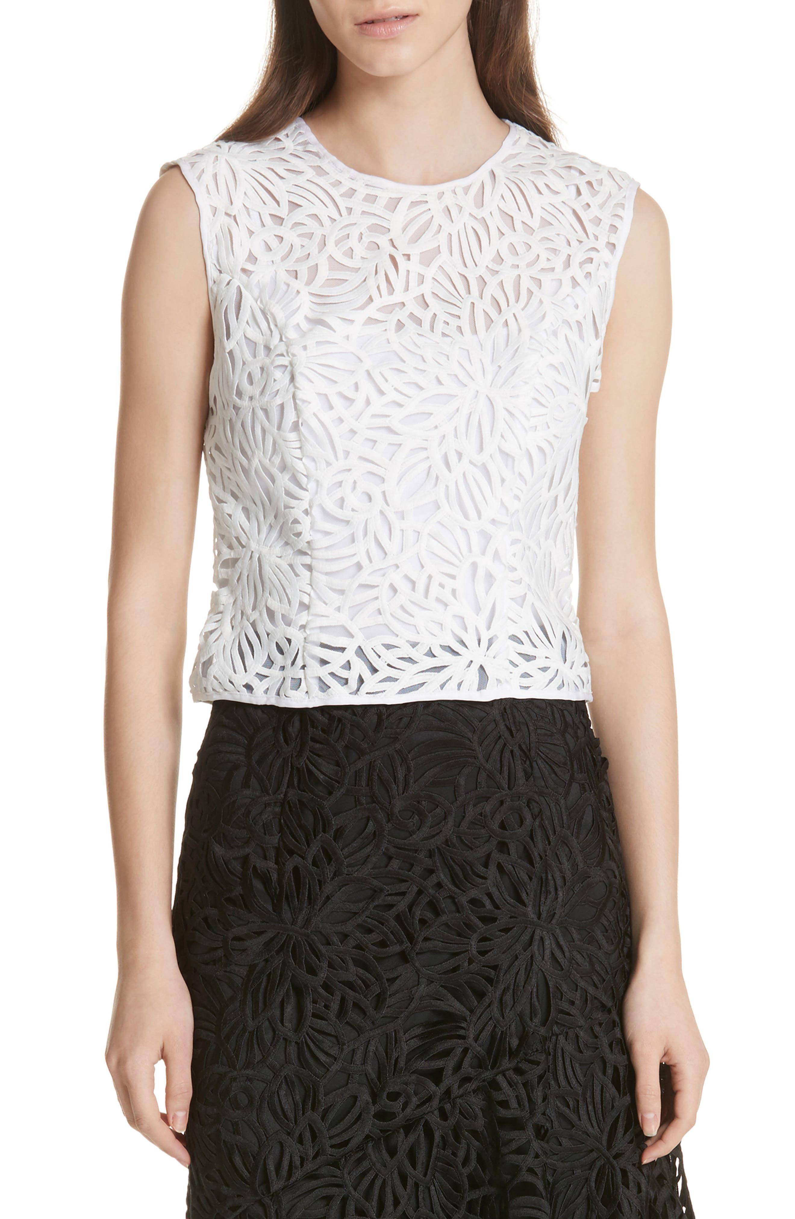 Irena Lace Top,                         Main,                         color, White