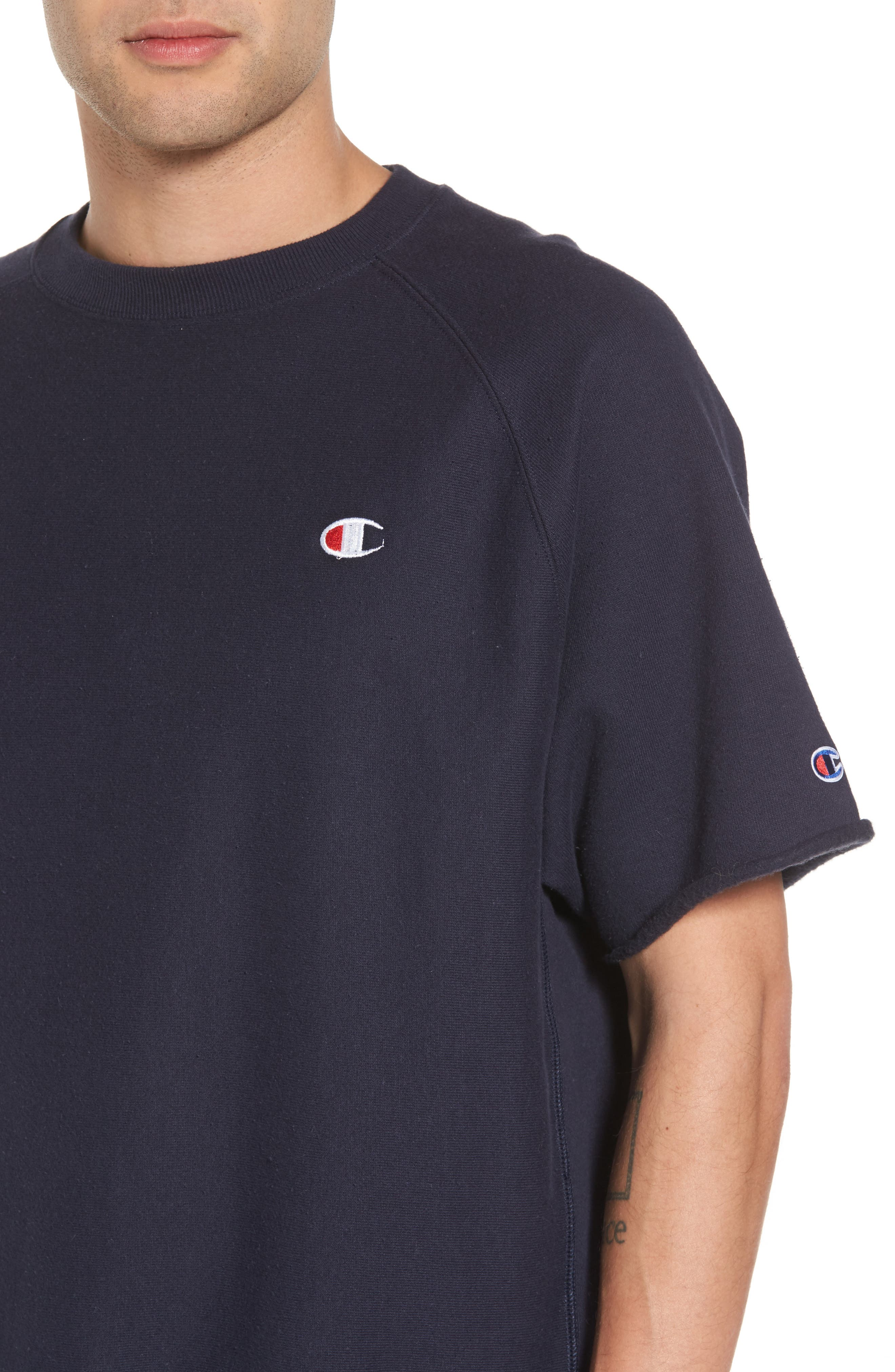 Reverse Weave Short Sleeve Sweatshirt,                             Alternate thumbnail 4, color,                             Navy