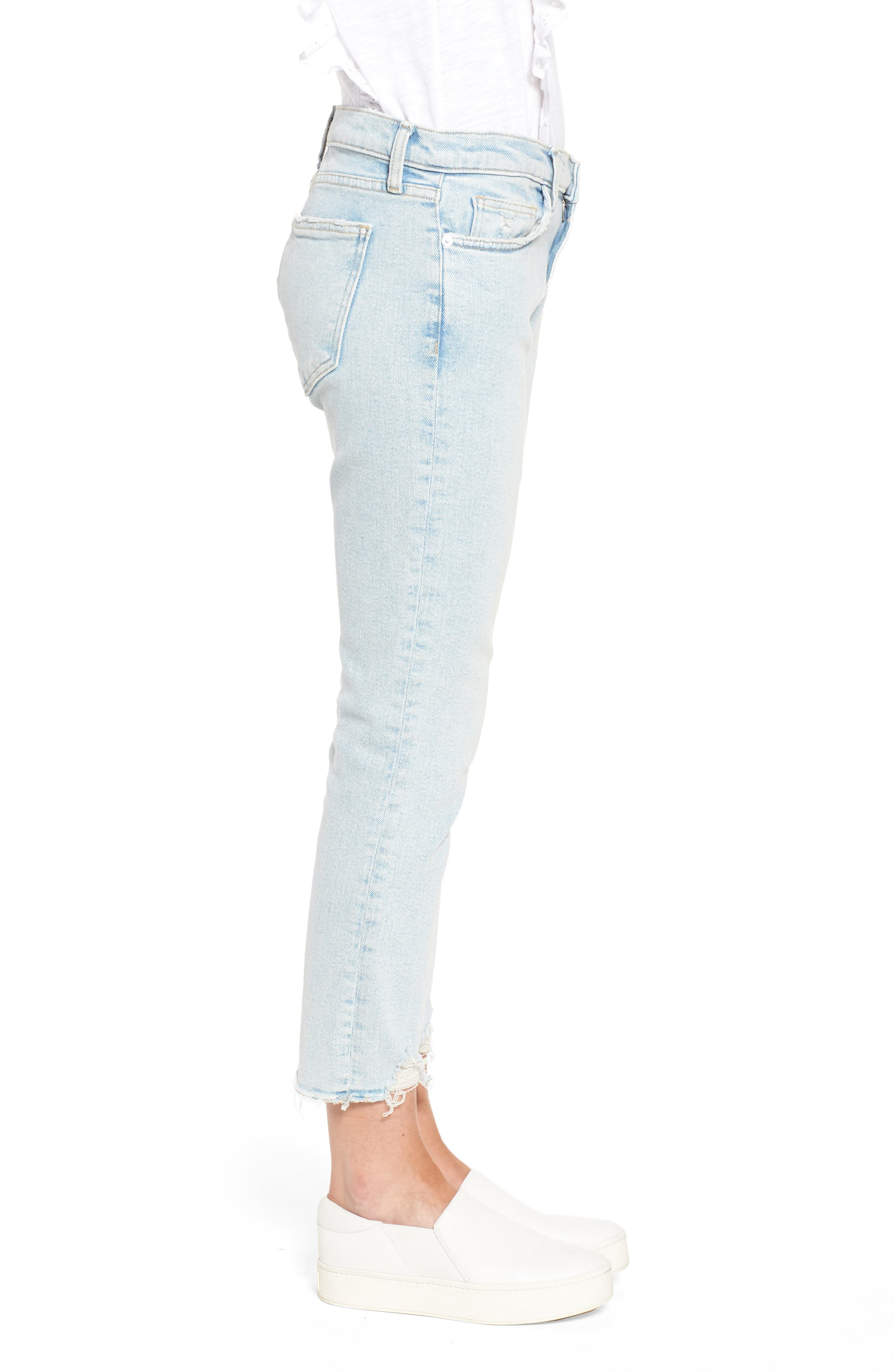 The Cropped Straight Leg Jeans,                             Alternate thumbnail 6, color,                             Cascade W/ Punk Hem