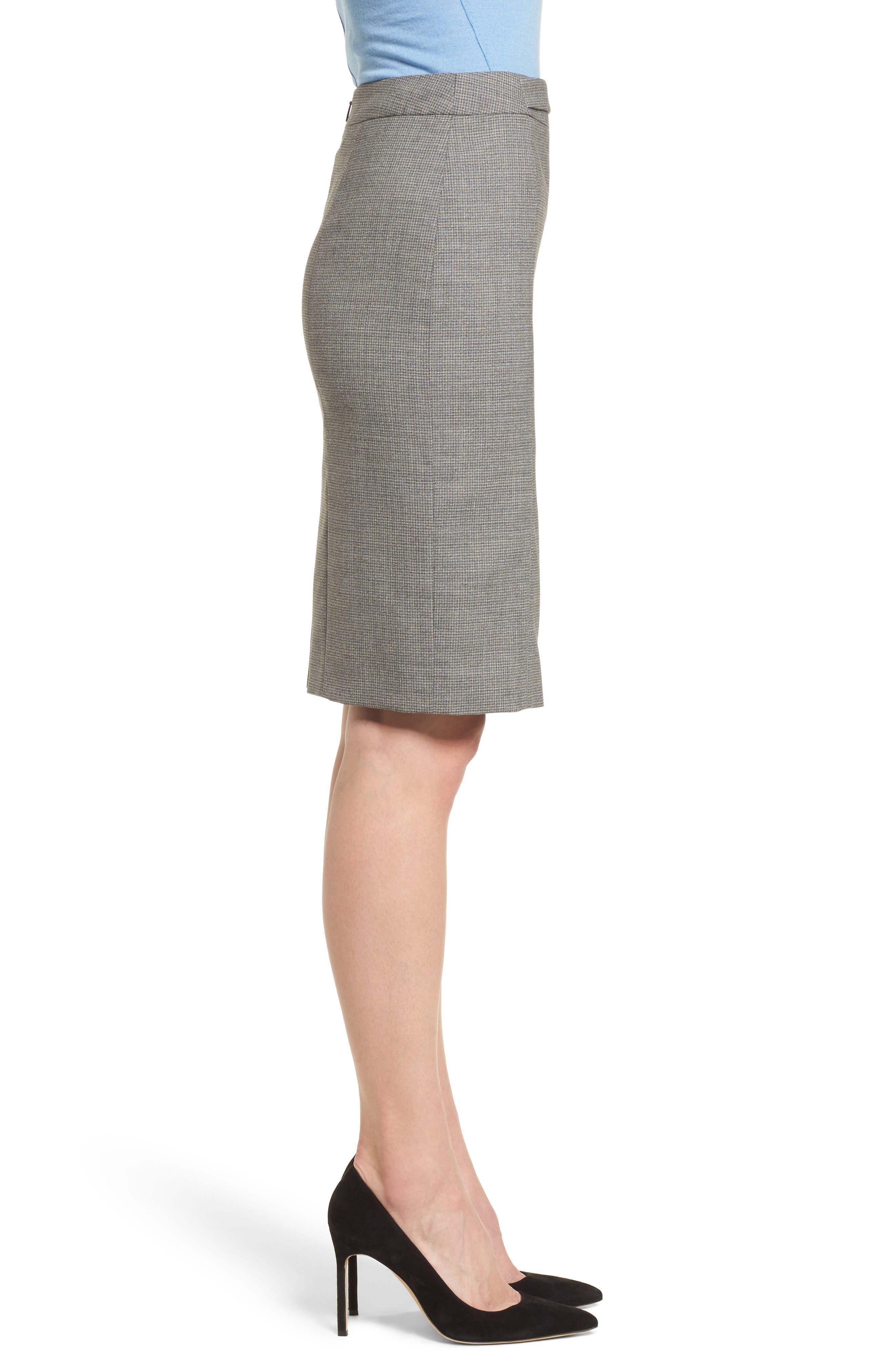 Vewisa Check Wool Suit Skirt,                             Alternate thumbnail 3, color,                             Cozy Grey Melange Fantasy