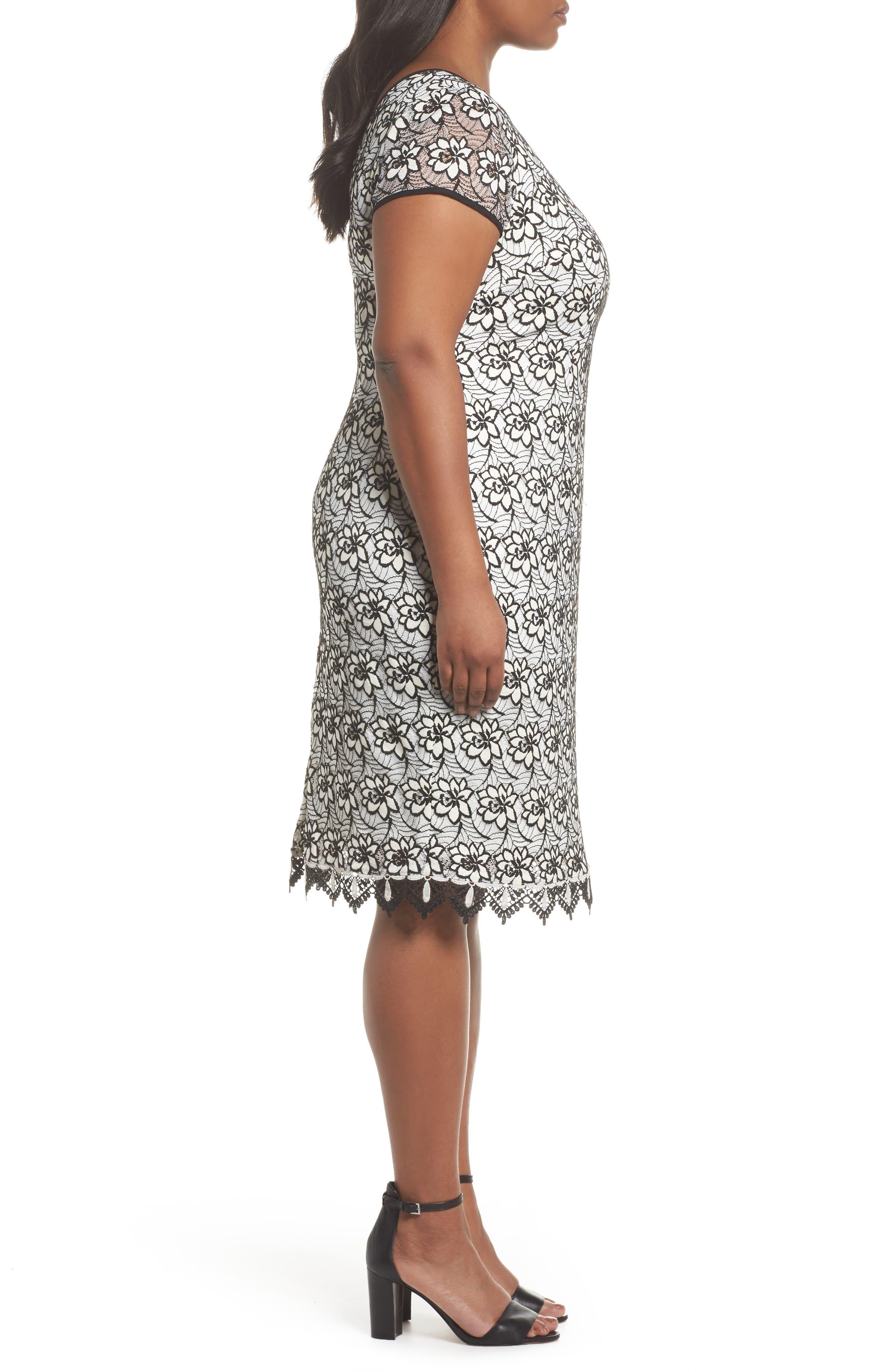 Lace Trim Sheath Dress,                             Alternate thumbnail 3, color,                             Ivory/ Black