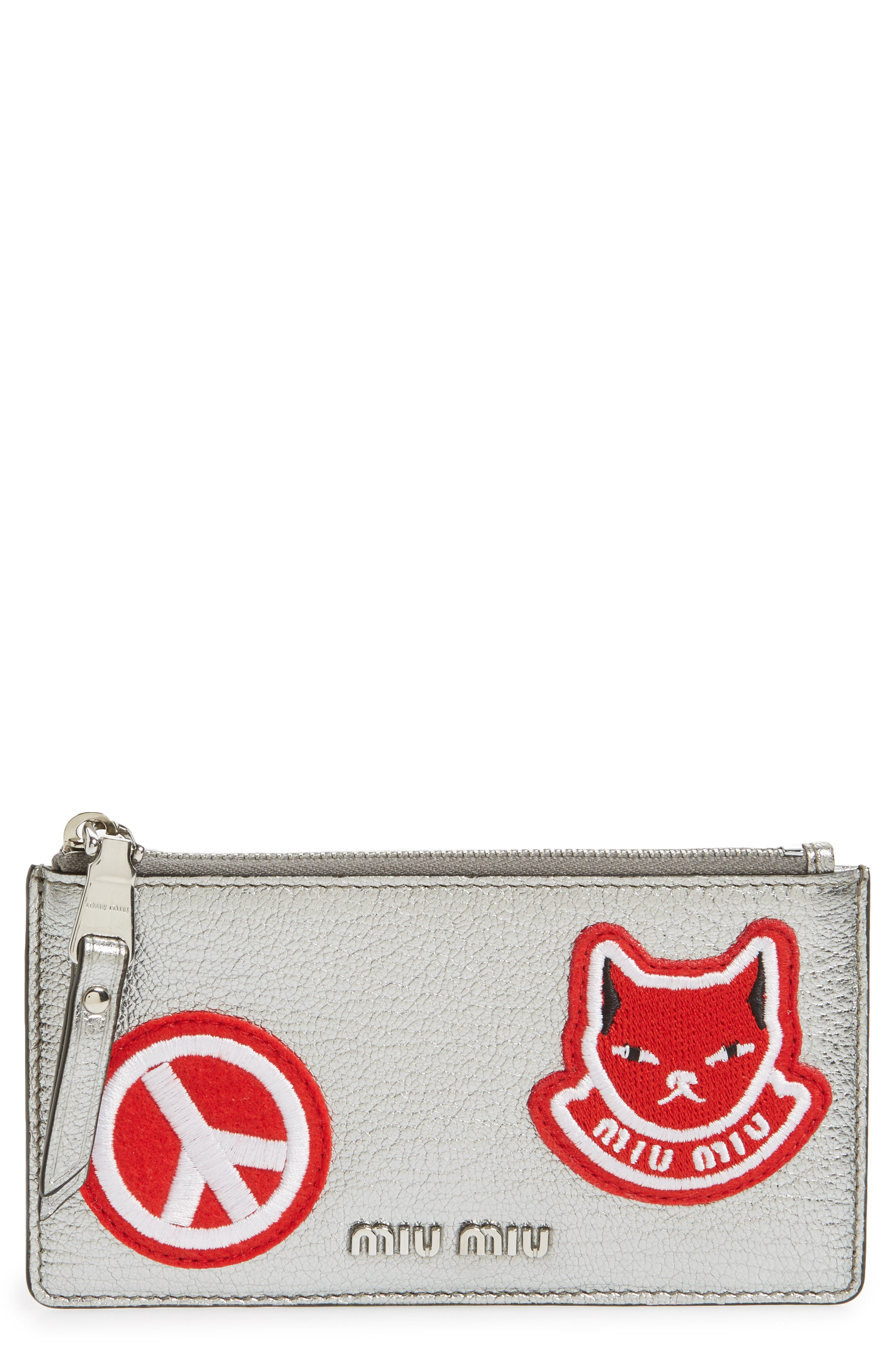 Miu Miu Madras Pop Patch Leather Card Case