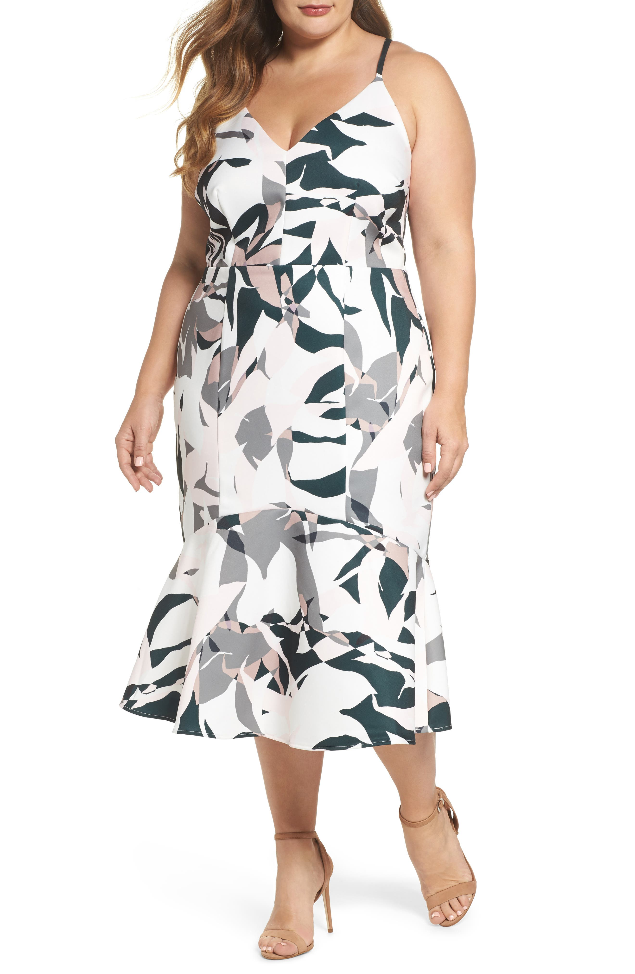 Leaf Dancer Flounce Hem Dress,                         Main,                         color, Print