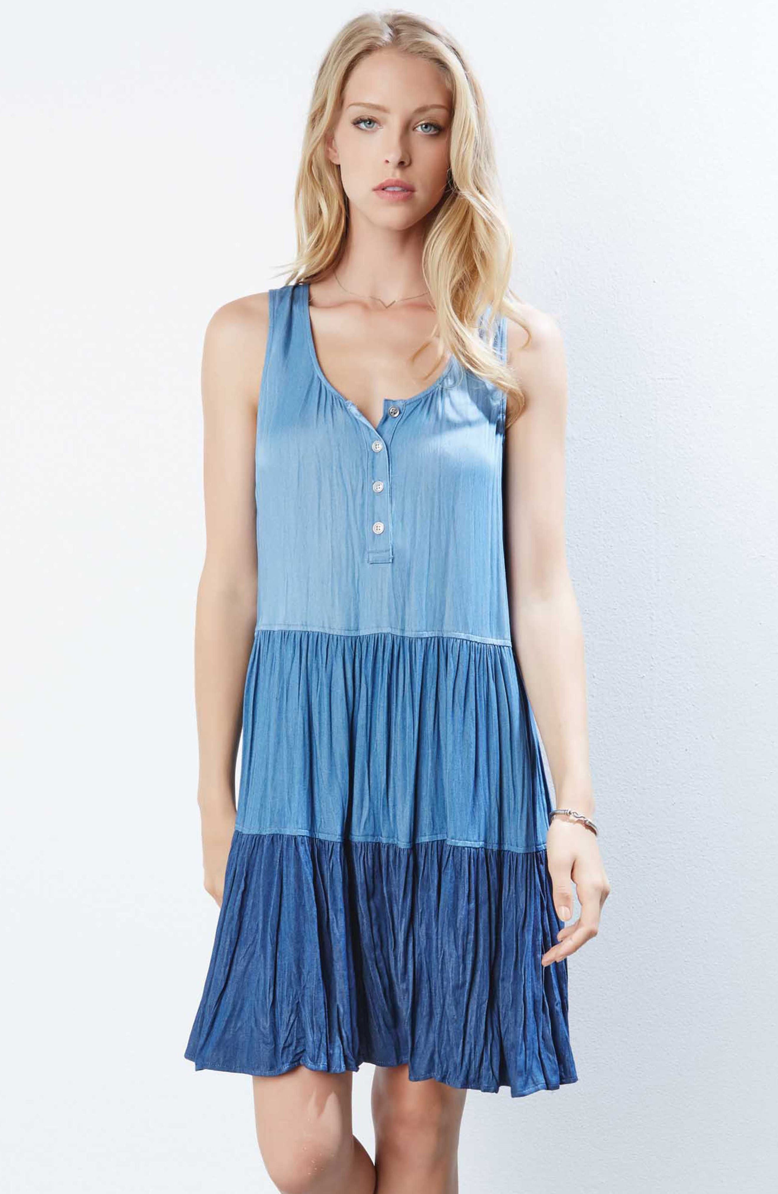 Tiered Chambray Dress,                             Alternate thumbnail 2, color,                             Multi-Colored