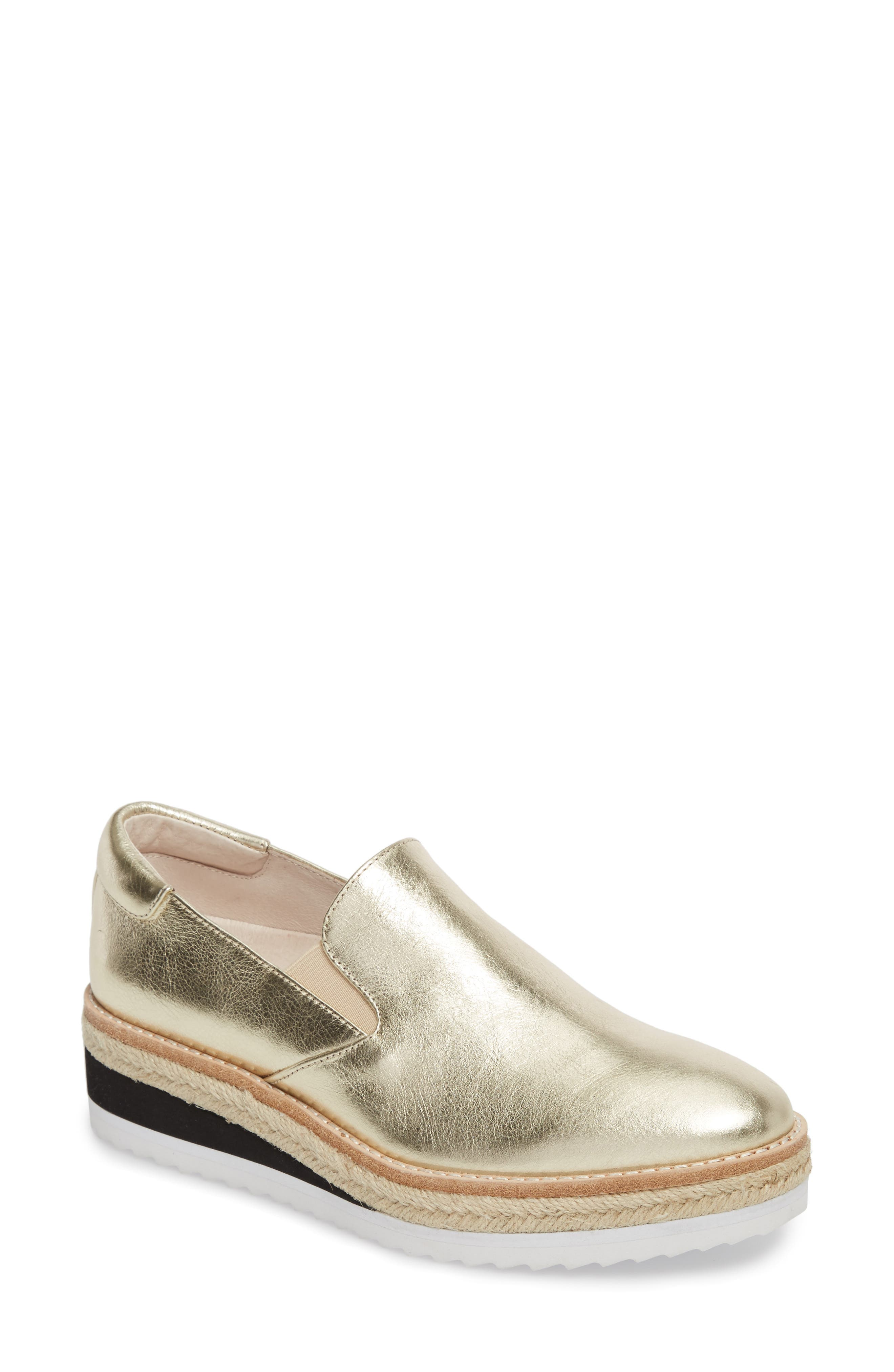 Rainer Slip-On,                             Main thumbnail 1, color,                             Gold Metallic Leather
