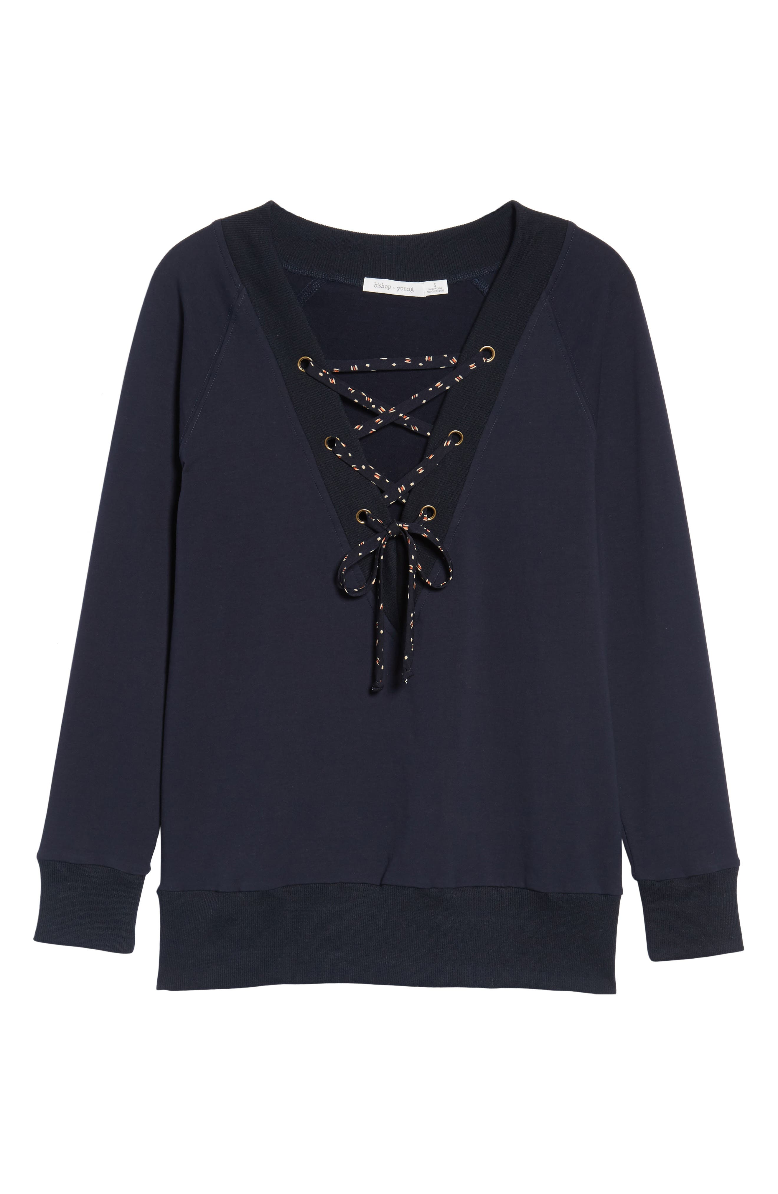 Bishop + Young Teri Lace-Up Top,                             Alternate thumbnail 6, color,                             Navy