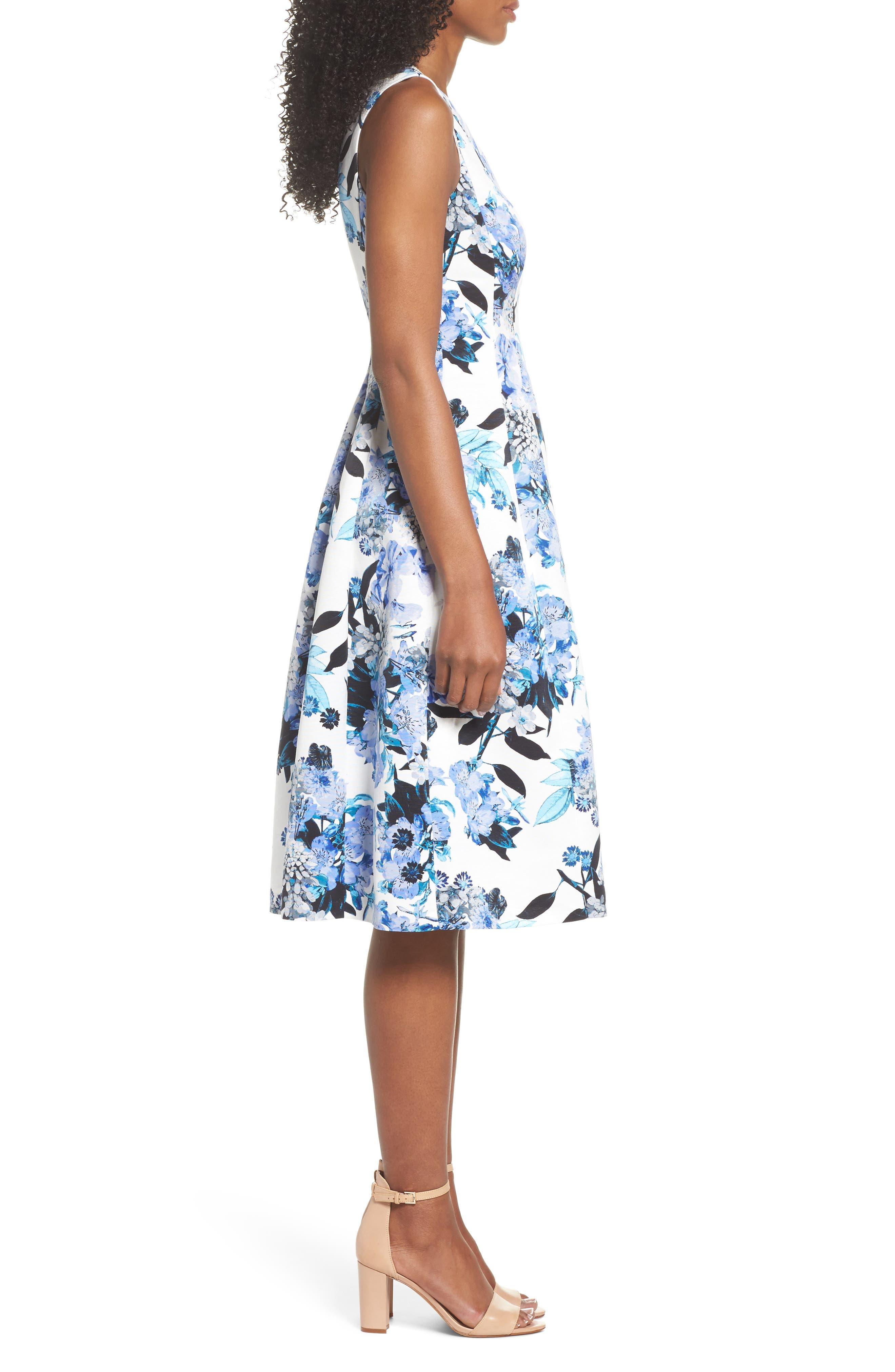 Floral Fit & Flare Dress,                             Alternate thumbnail 3, color,                             Blue