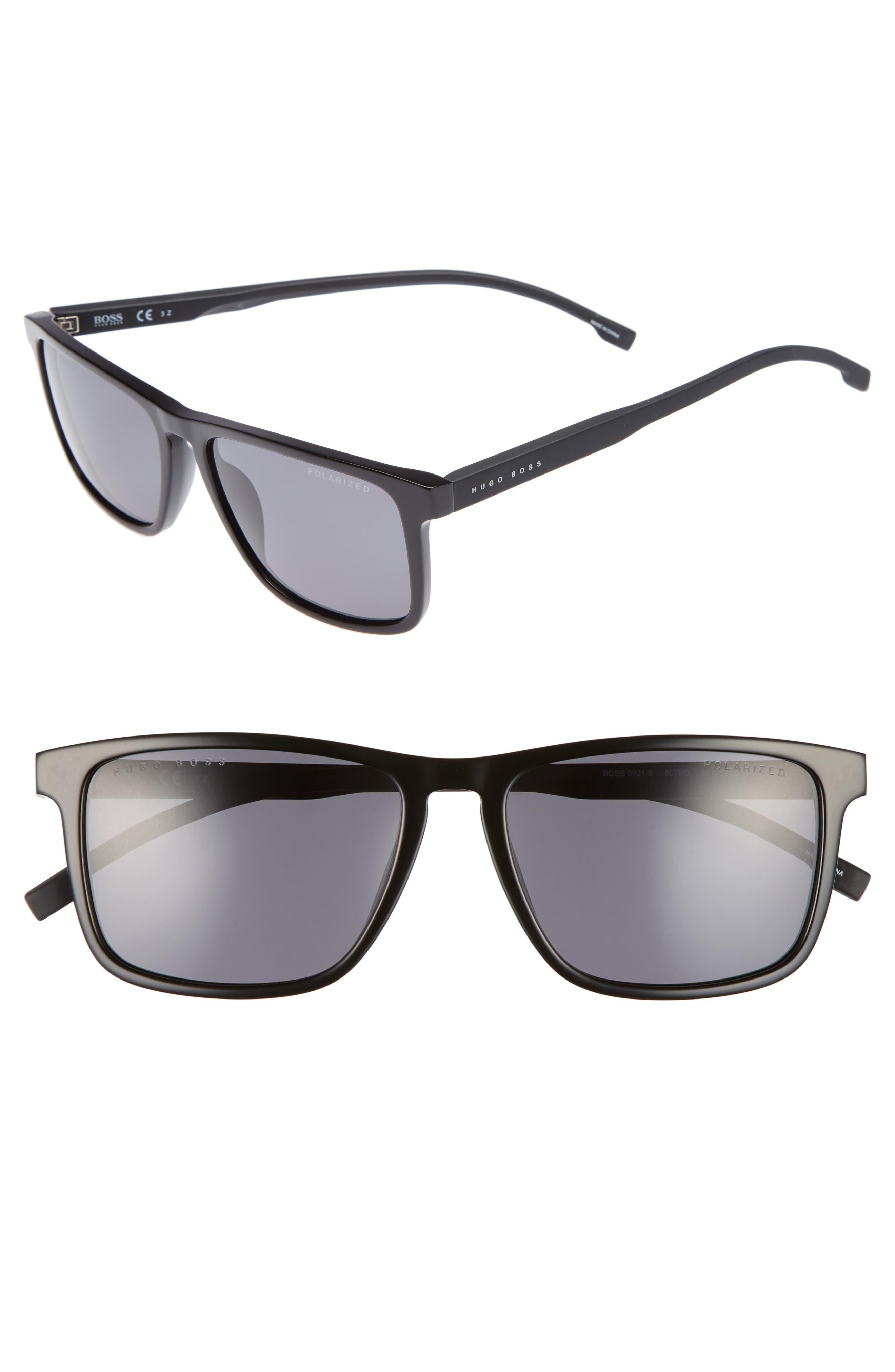 55mm Sunglasses,                             Main thumbnail 1, color,                             Black/ Gray Polarized