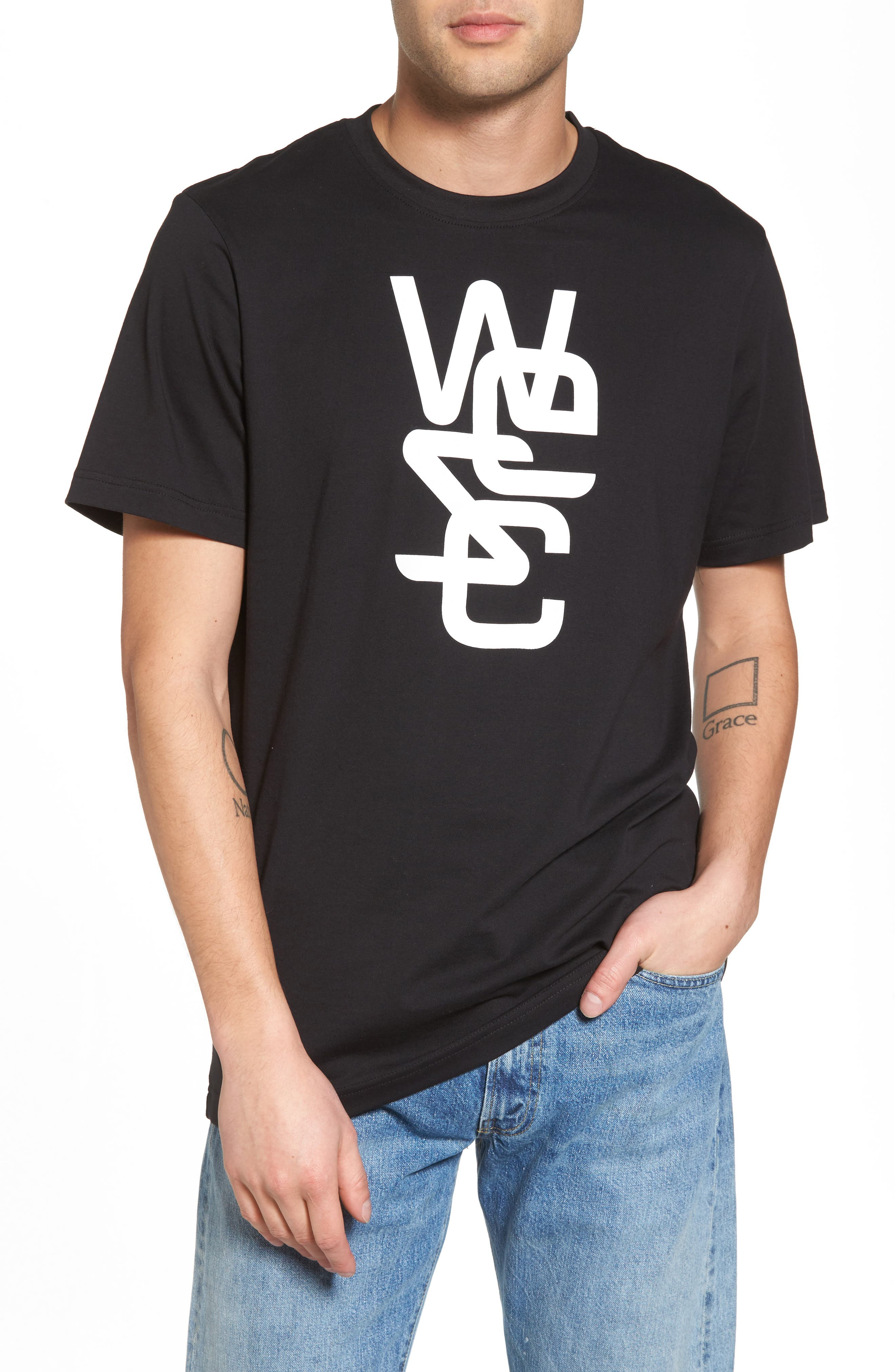 Overlay Logo Graphic T-Shirt,                         Main,                         color, Black