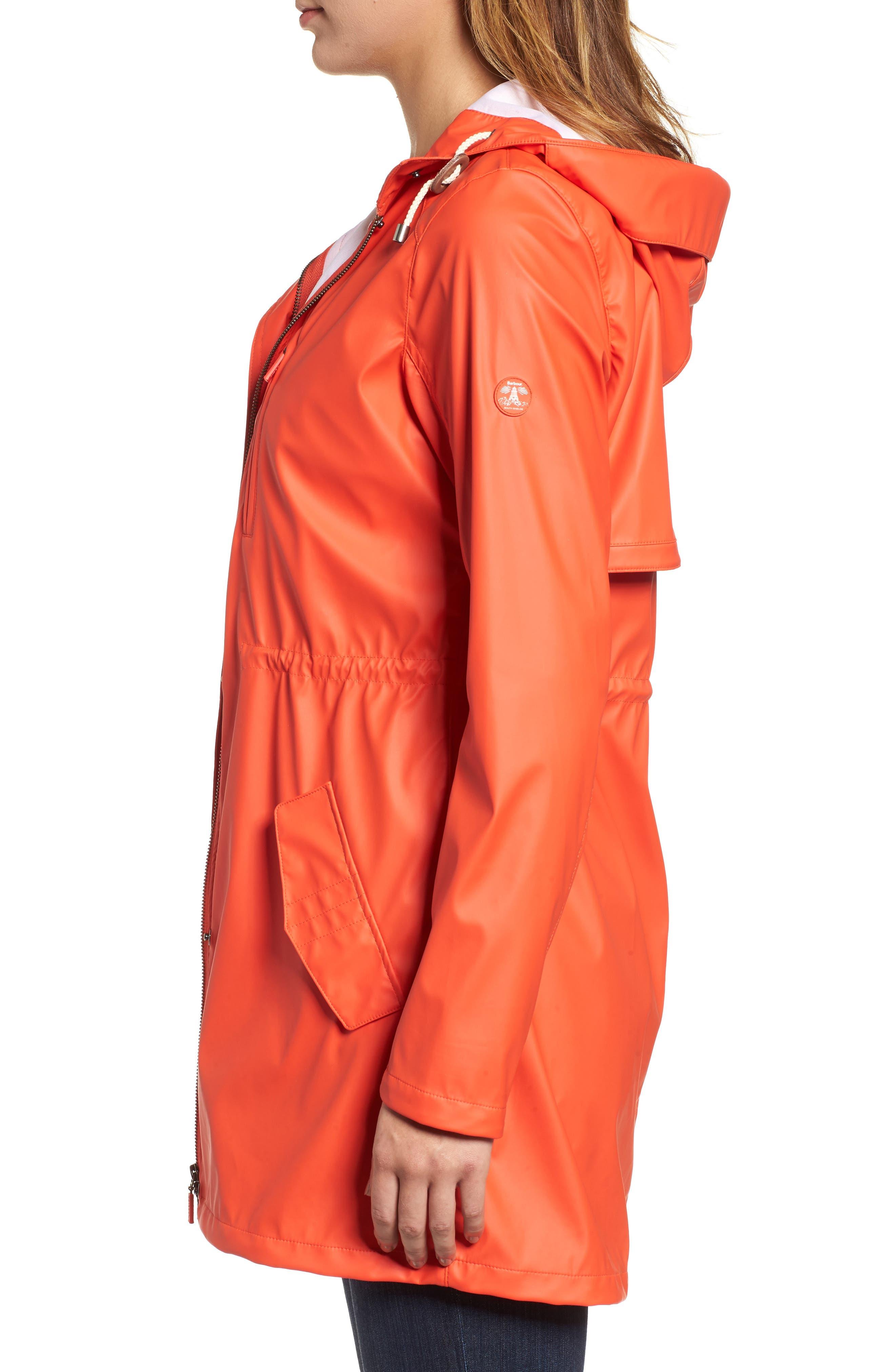 Harbour Hooded Jacket,                             Alternate thumbnail 3, color,                             Signal Orange