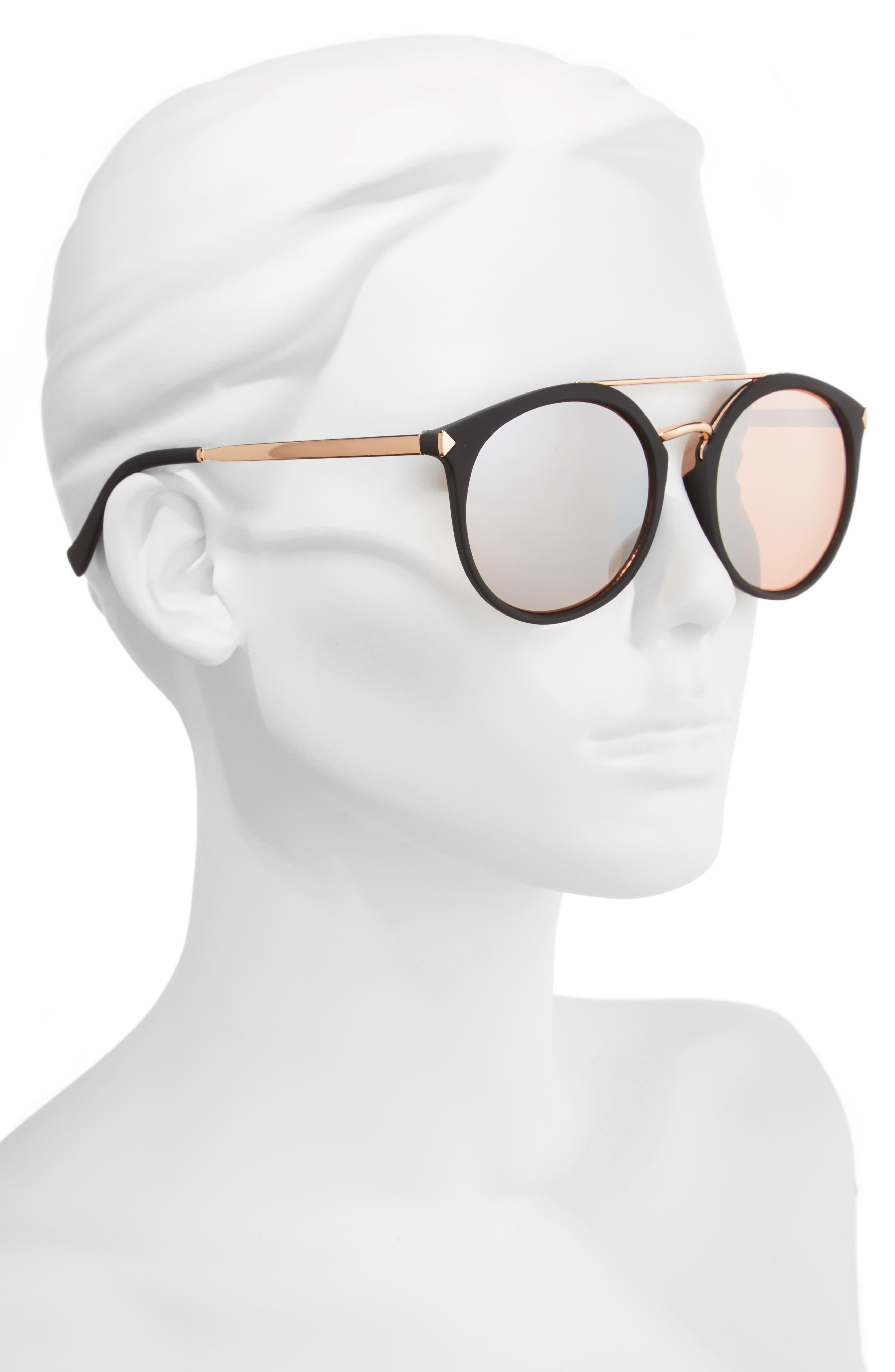 55mm Mirrored Sunglasses,                             Alternate thumbnail 2, color,                             Black/ Rose Gold