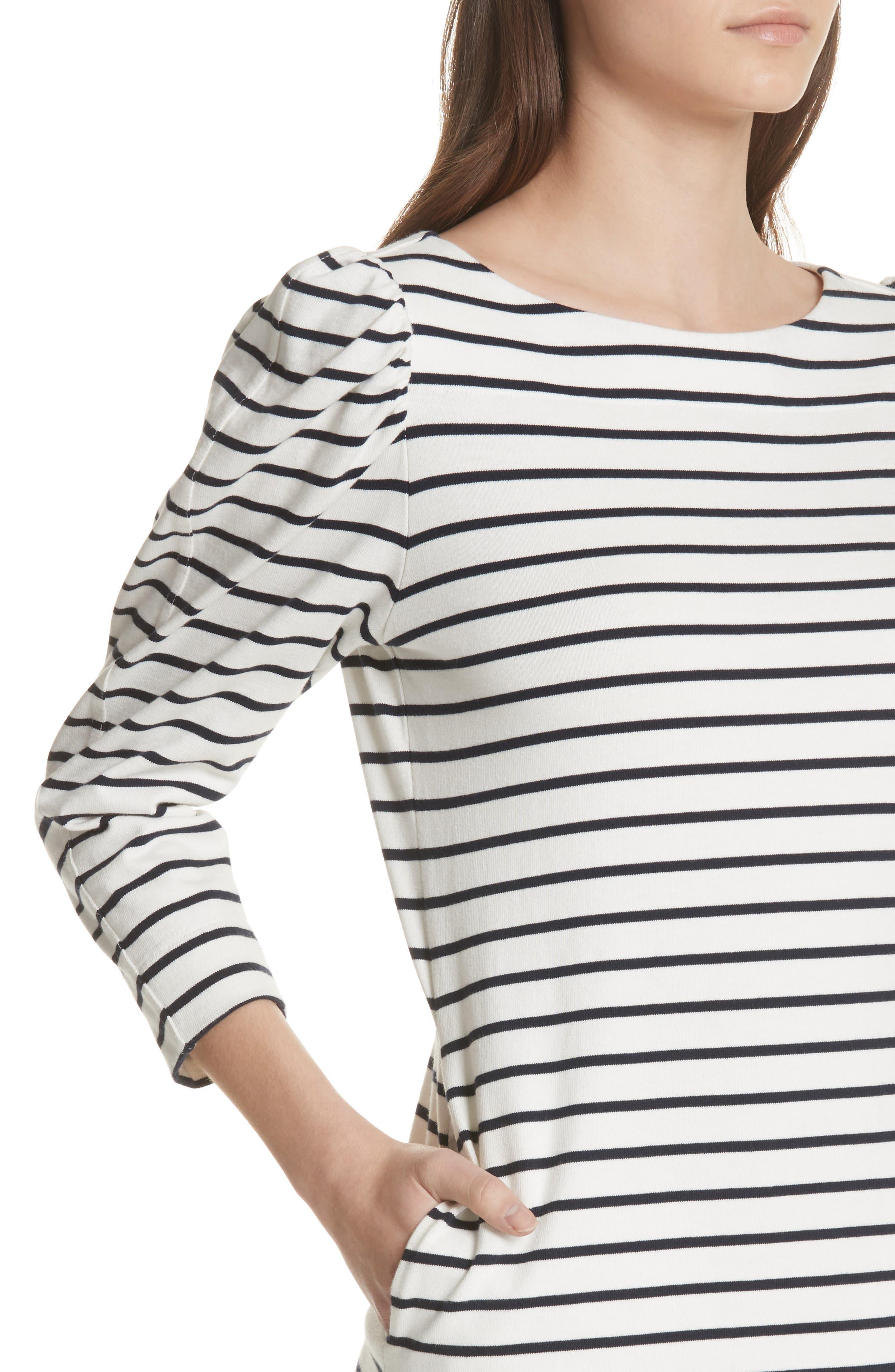 Stripe Knit Dress,                             Alternate thumbnail 4, color,                             Milk Combo