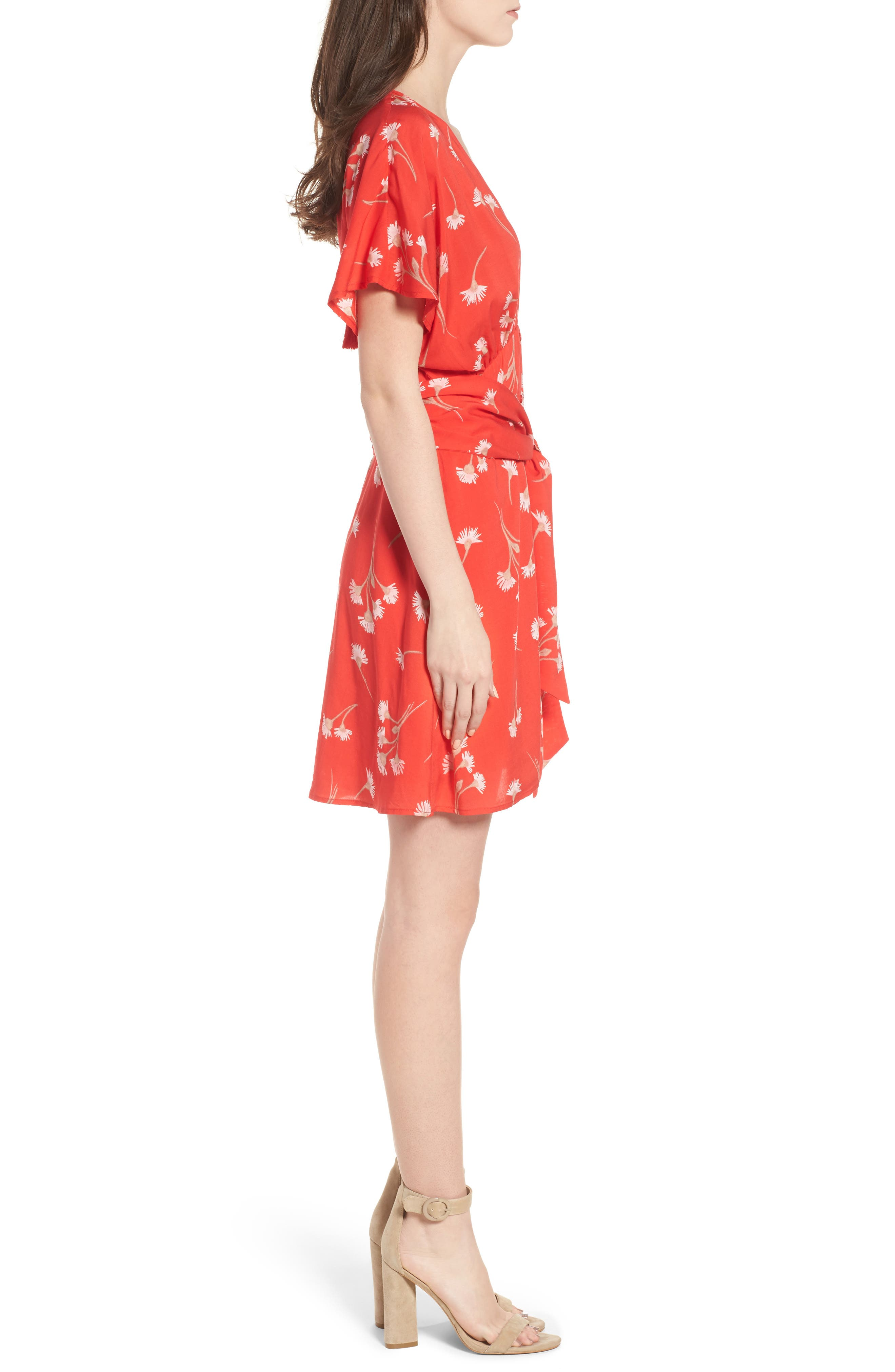 Floral Cutout Back Minidress,                             Alternate thumbnail 3, color,                             Red Floral