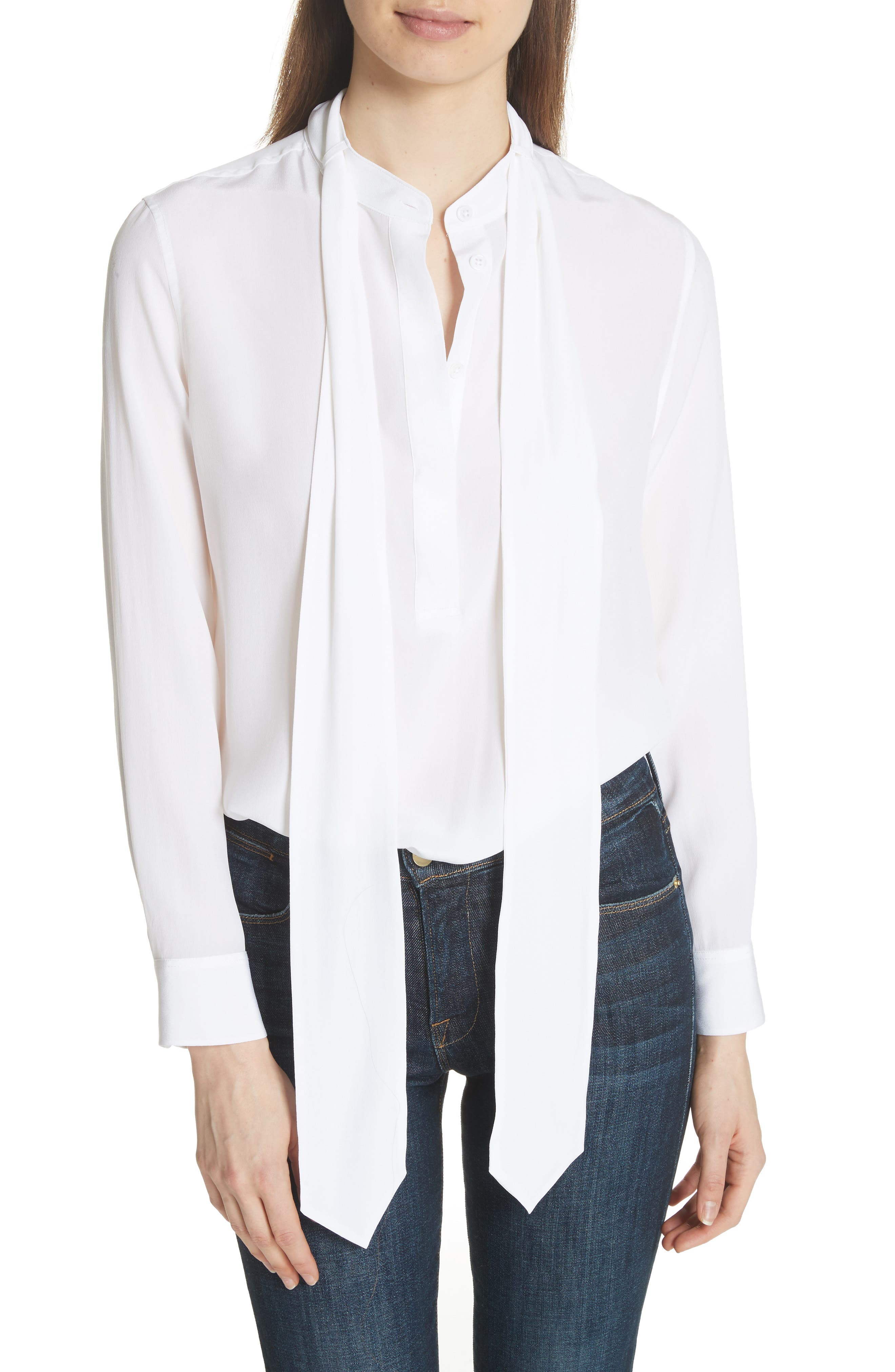Carleen Tie Neck Silk Blouse,                         Main,                         color, Bright White