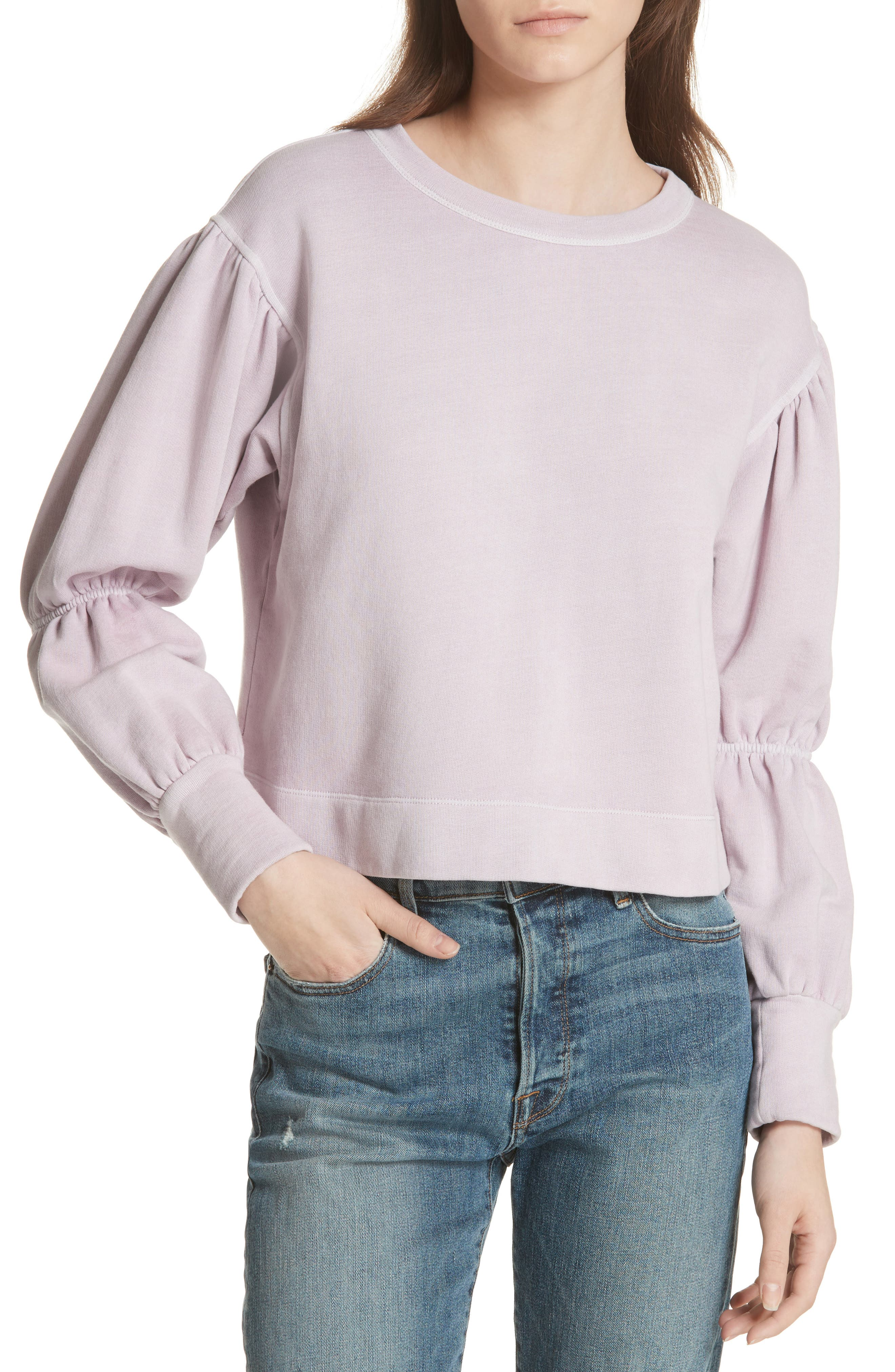 French Terry Pullover,                             Main thumbnail 1, color,                             Lilac Dust