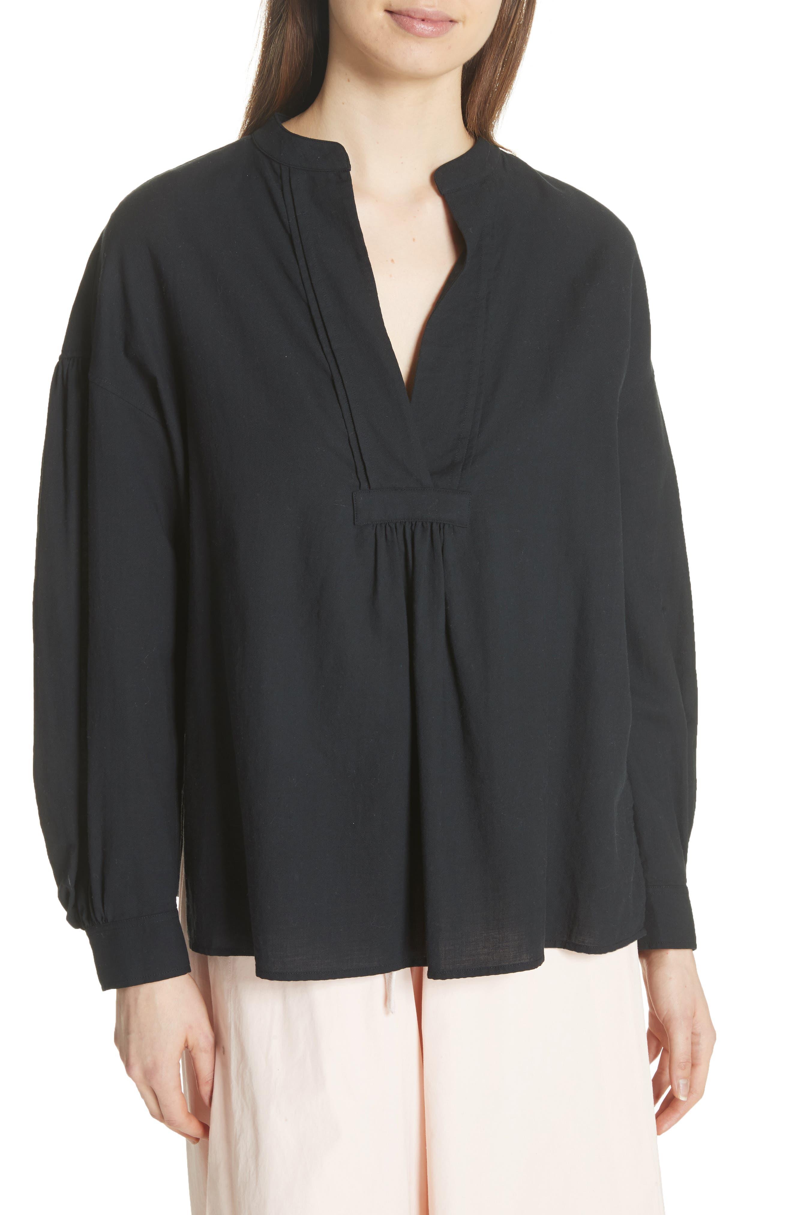Shirred Cotton Blouse,                         Main,                         color, Black