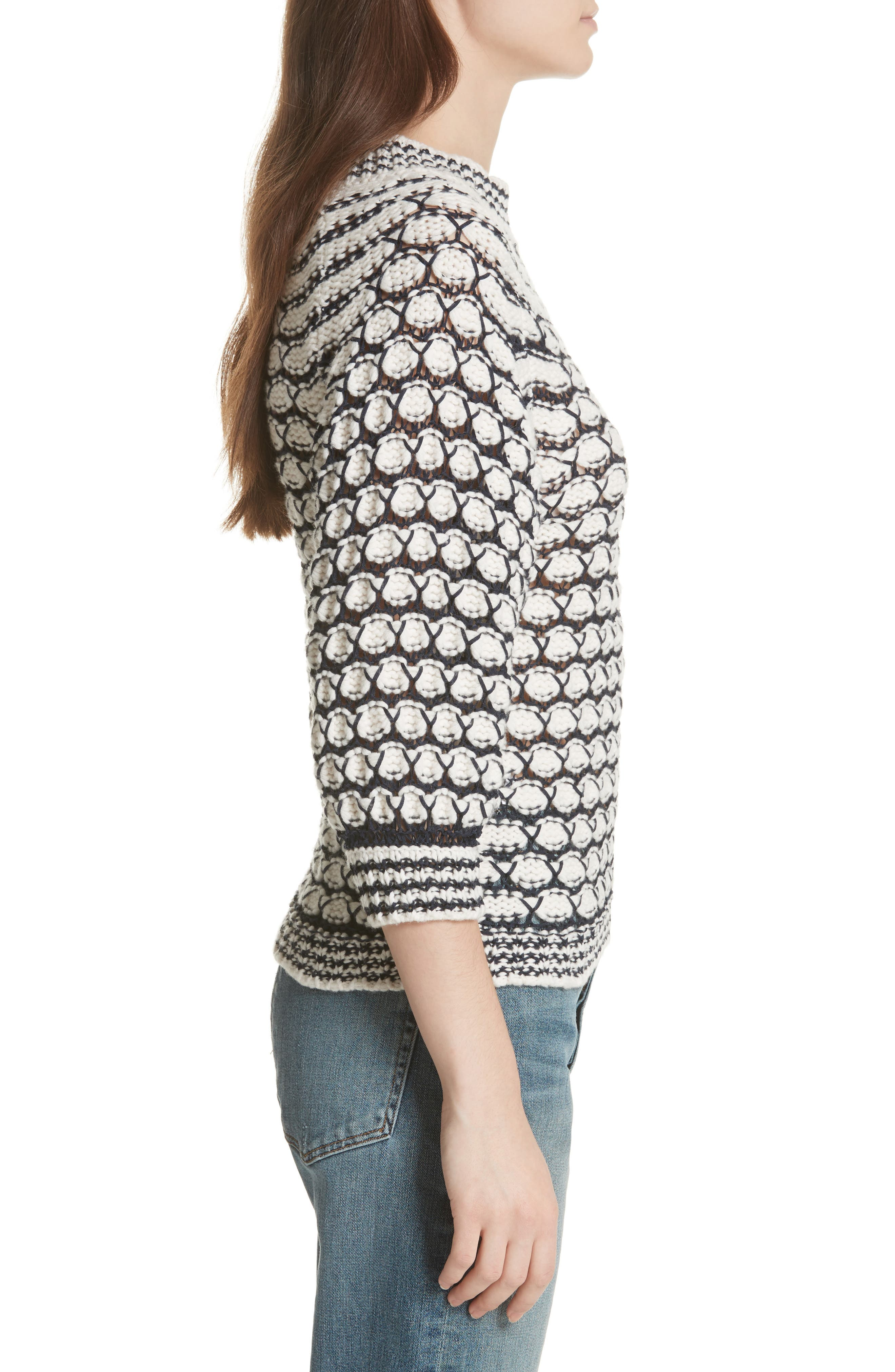 Lace Stitch Sweater,                             Alternate thumbnail 3, color,                             Cream/ Midnight Navy