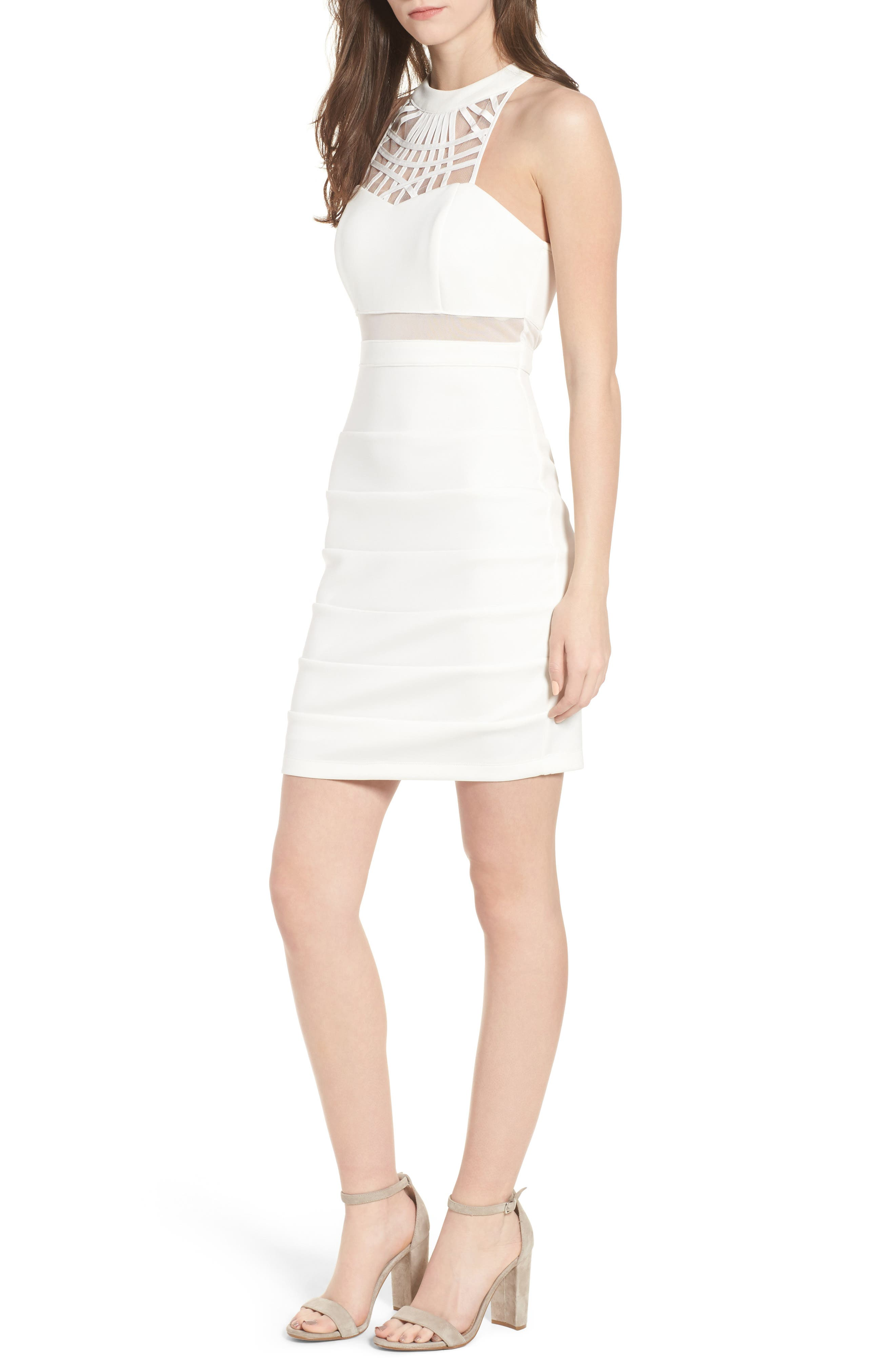 Strappy Neck Body-Con Dress,                             Main thumbnail 1, color,                             Ivory