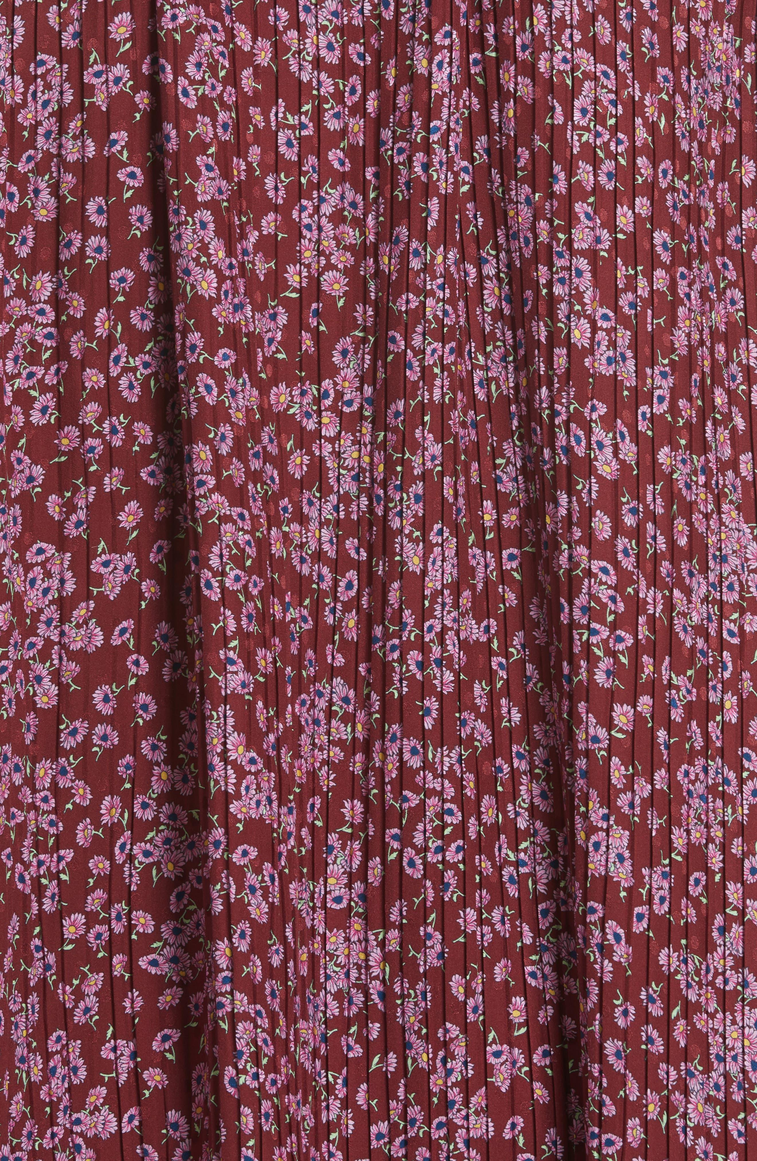Floral Silk Cold Shoulder Dress,                             Alternate thumbnail 7, color,                             Bordeaux