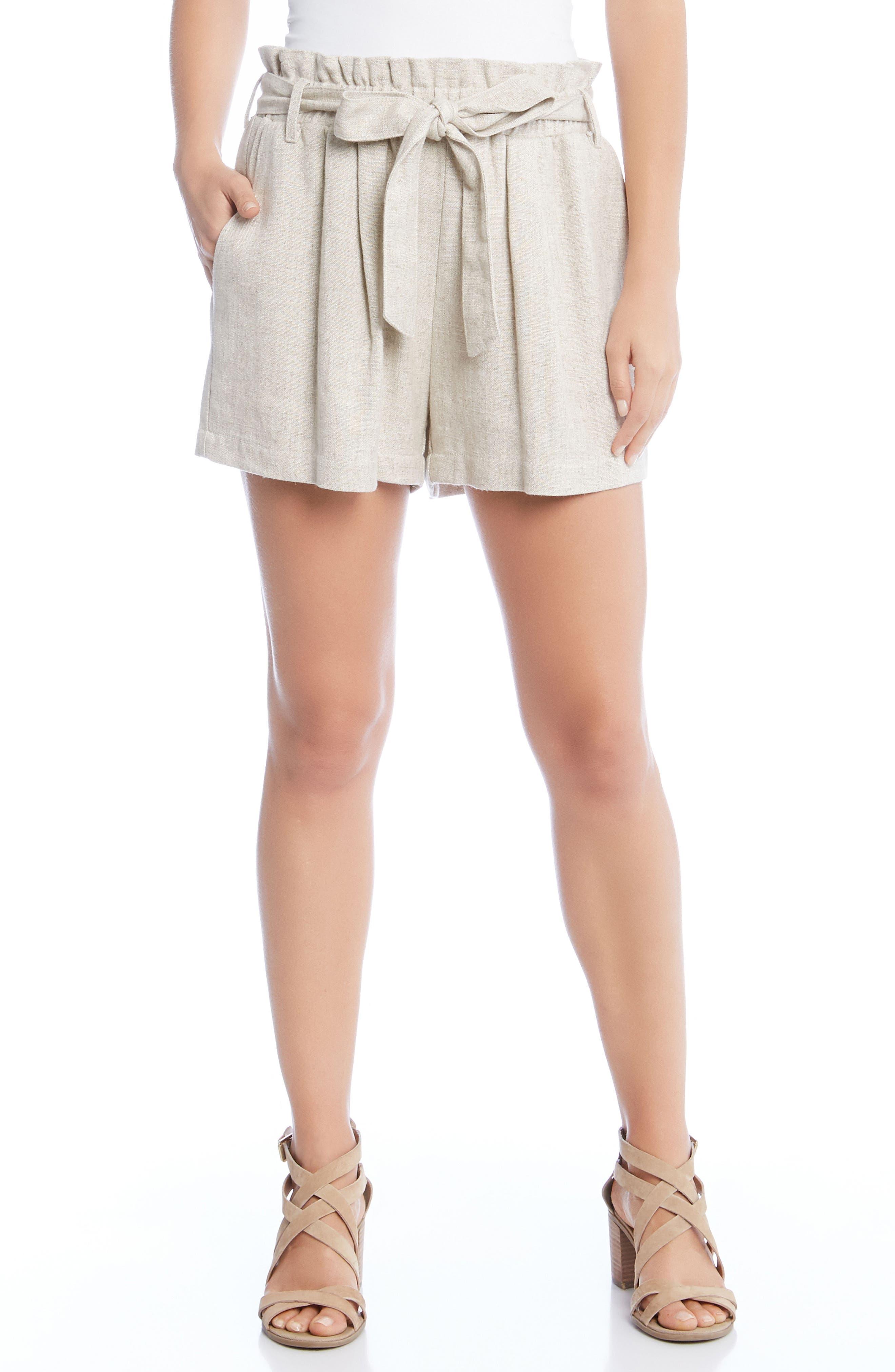 Paperbag Waist Shorts,                             Main thumbnail 1, color,                             Tan