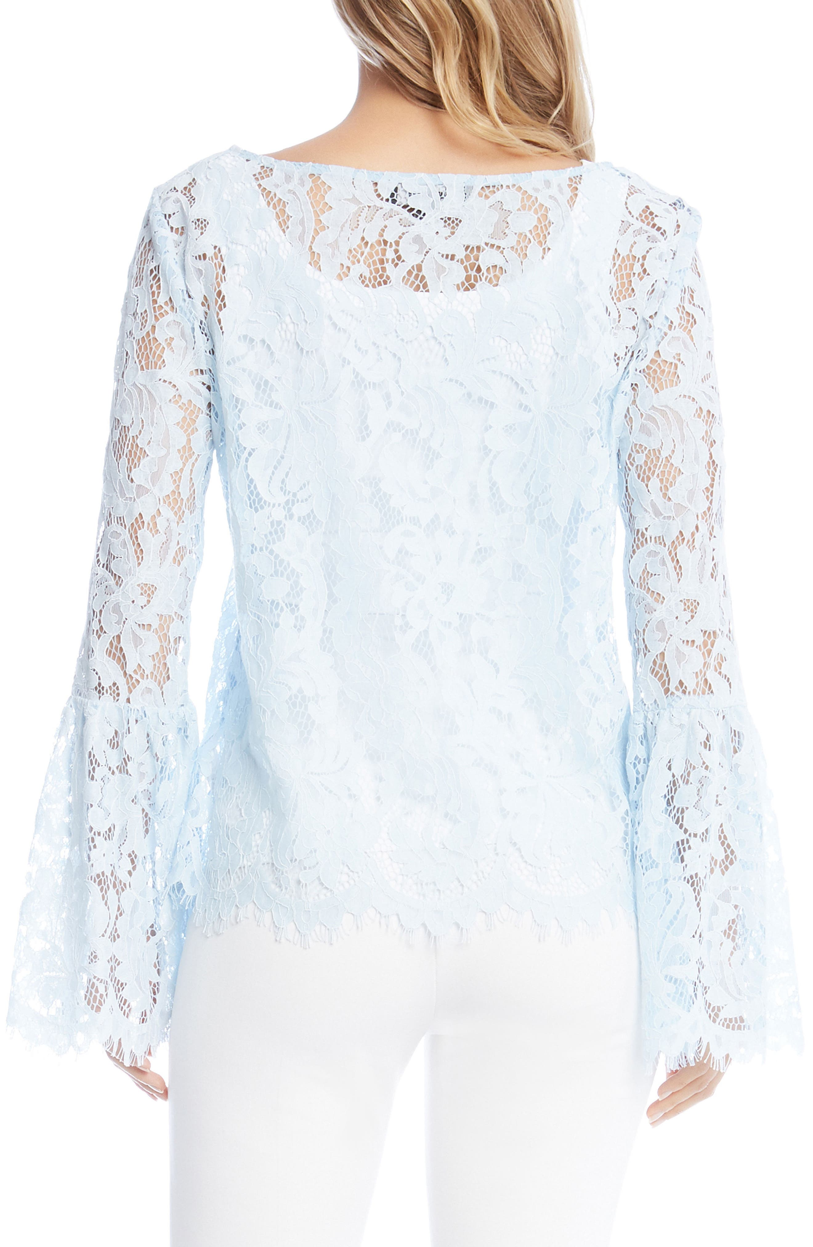 Bell Sleeve Lace Top,                             Alternate thumbnail 2, color,                             Power Blue