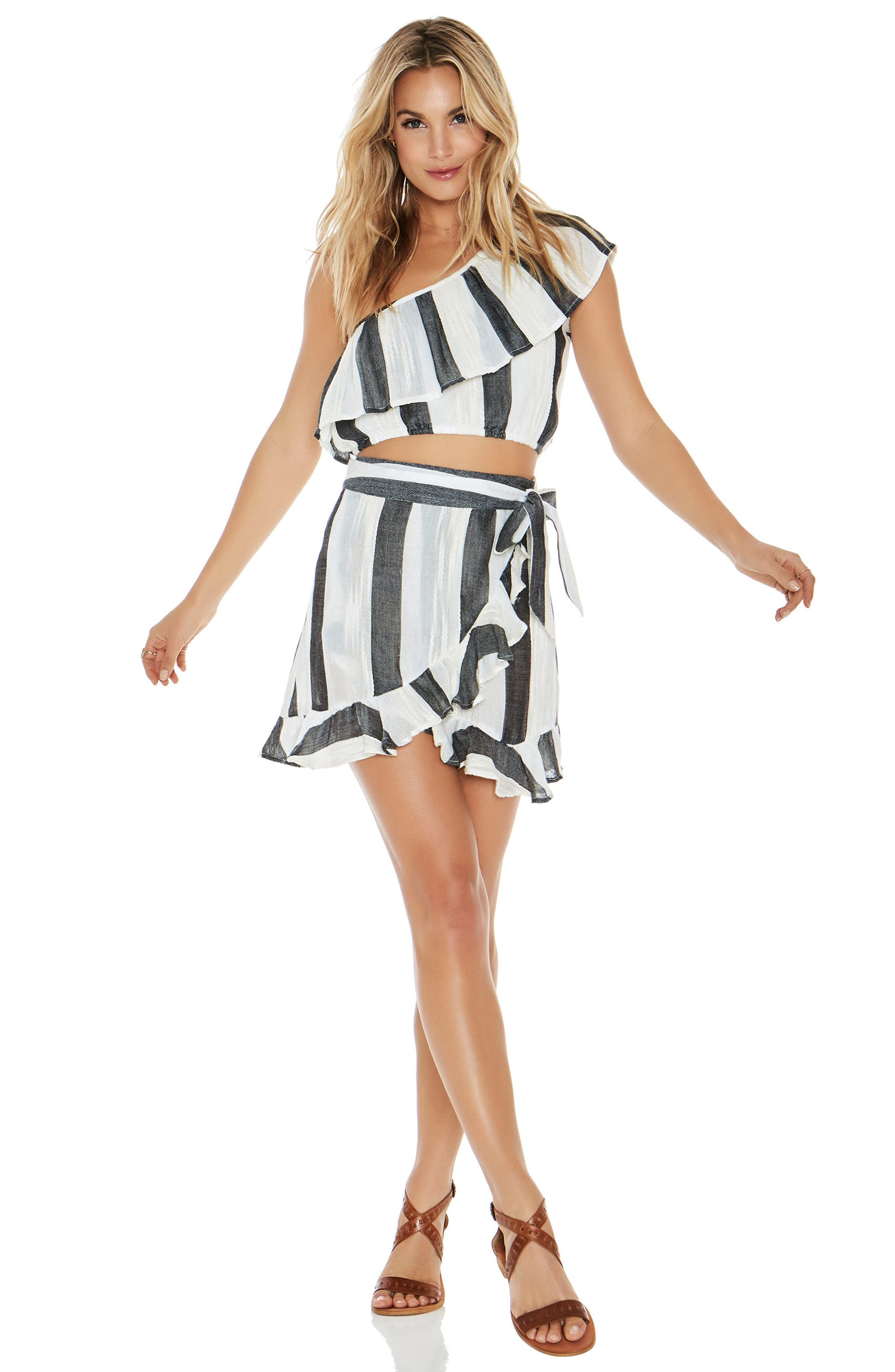 Alicia One-Shoulder Cover-Up Top,                             Alternate thumbnail 4, color,                             Beach Bum Stripe