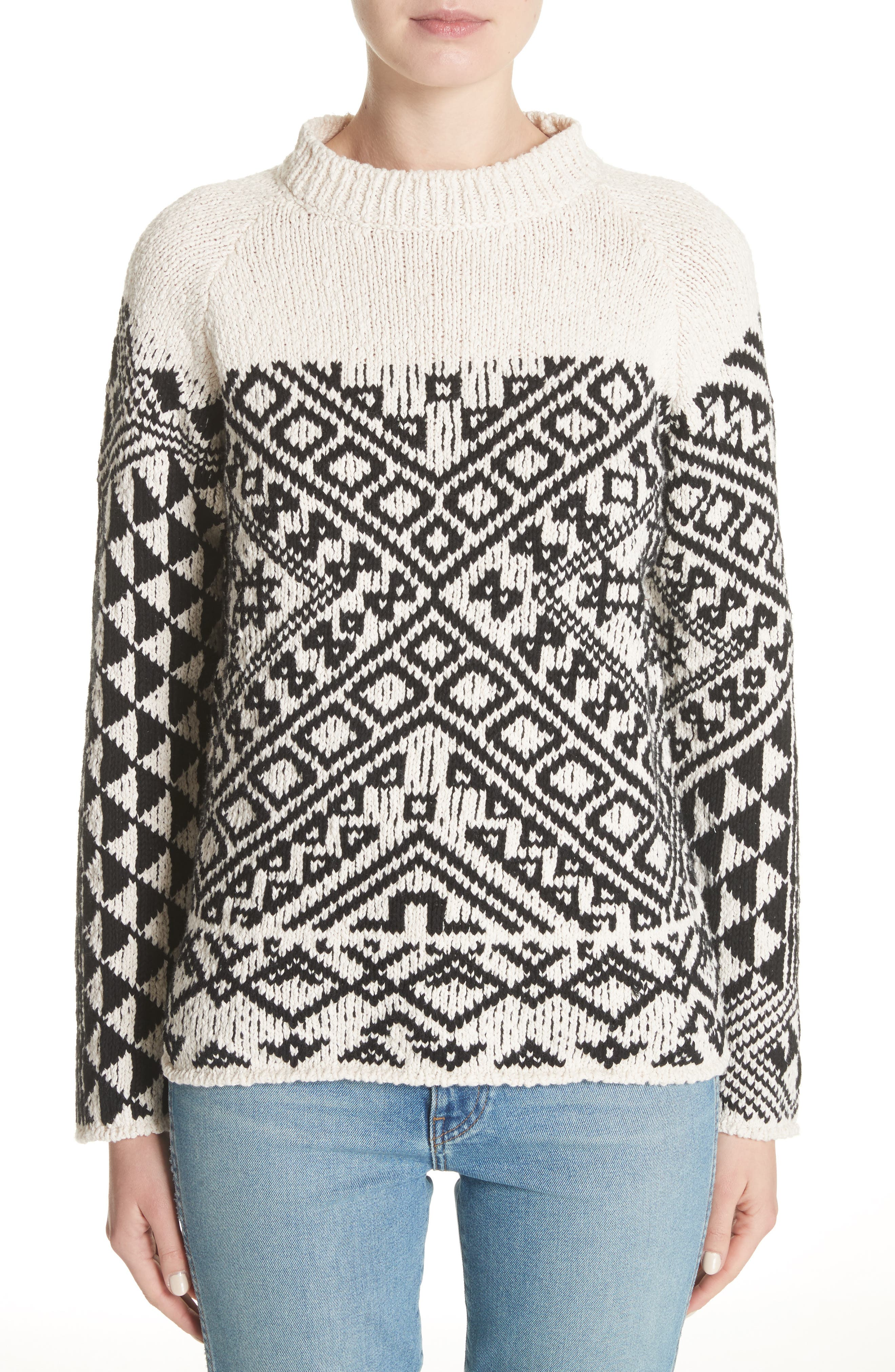 Rhia Jacquard Sweater,                             Main thumbnail 1, color,                             Off White/ Black
