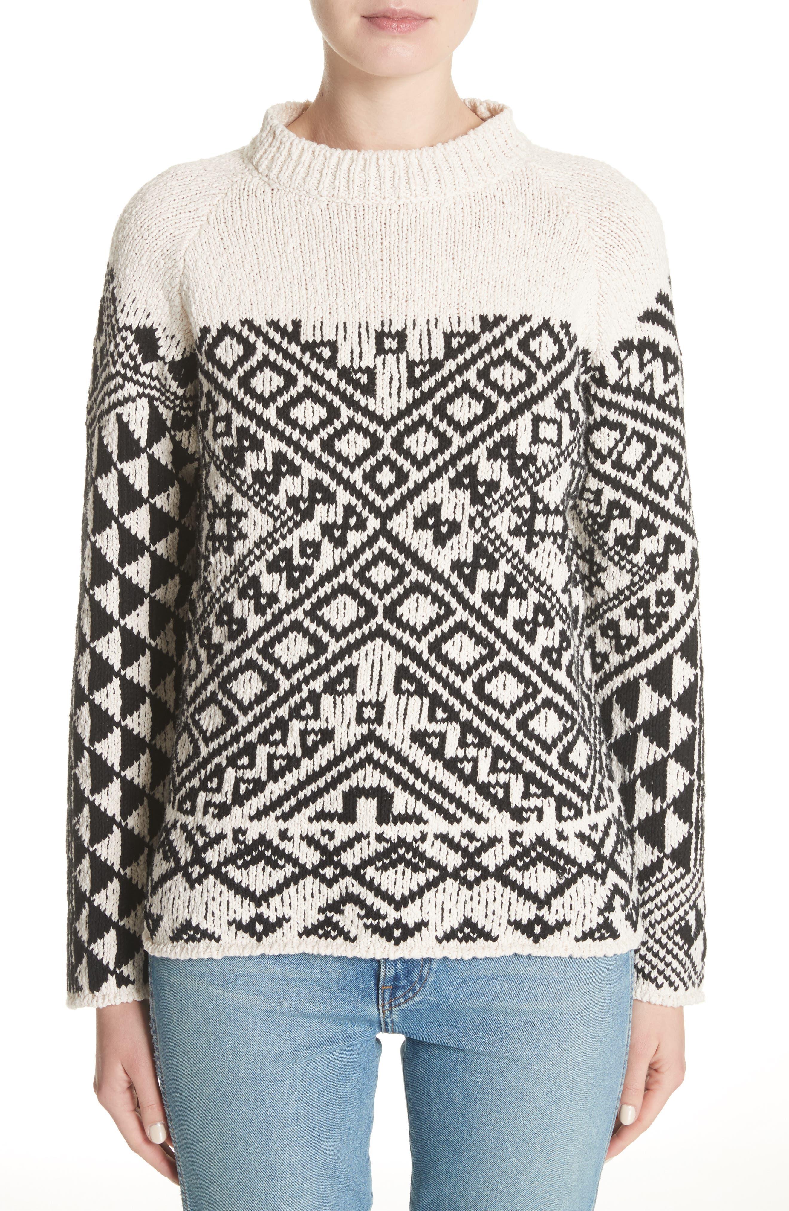 Rhia Jacquard Sweater,                         Main,                         color, Off White/ Black