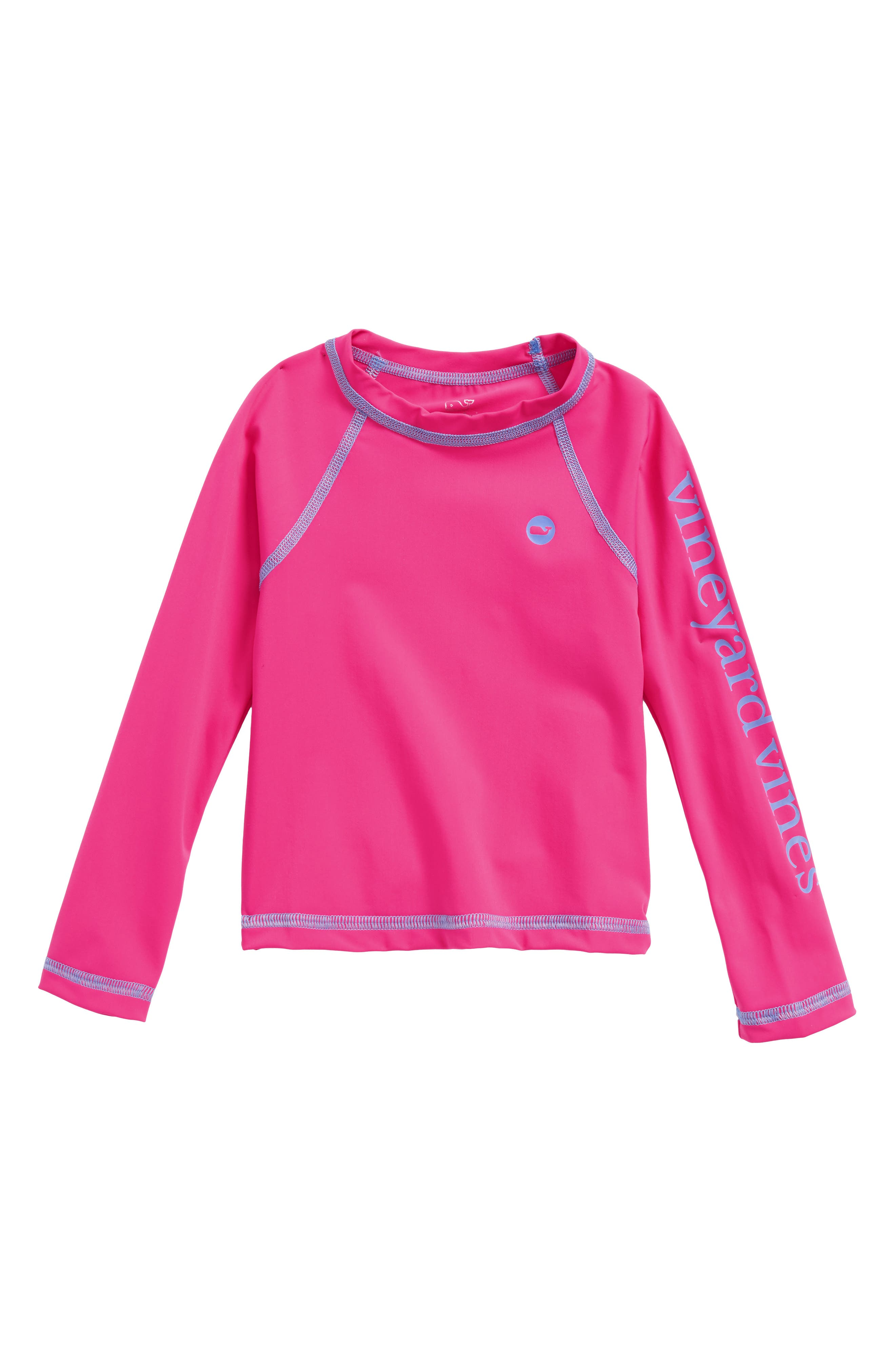 Main Image - vineyard vines Solid Long Sleeve Rashguard (Toddler Girls)