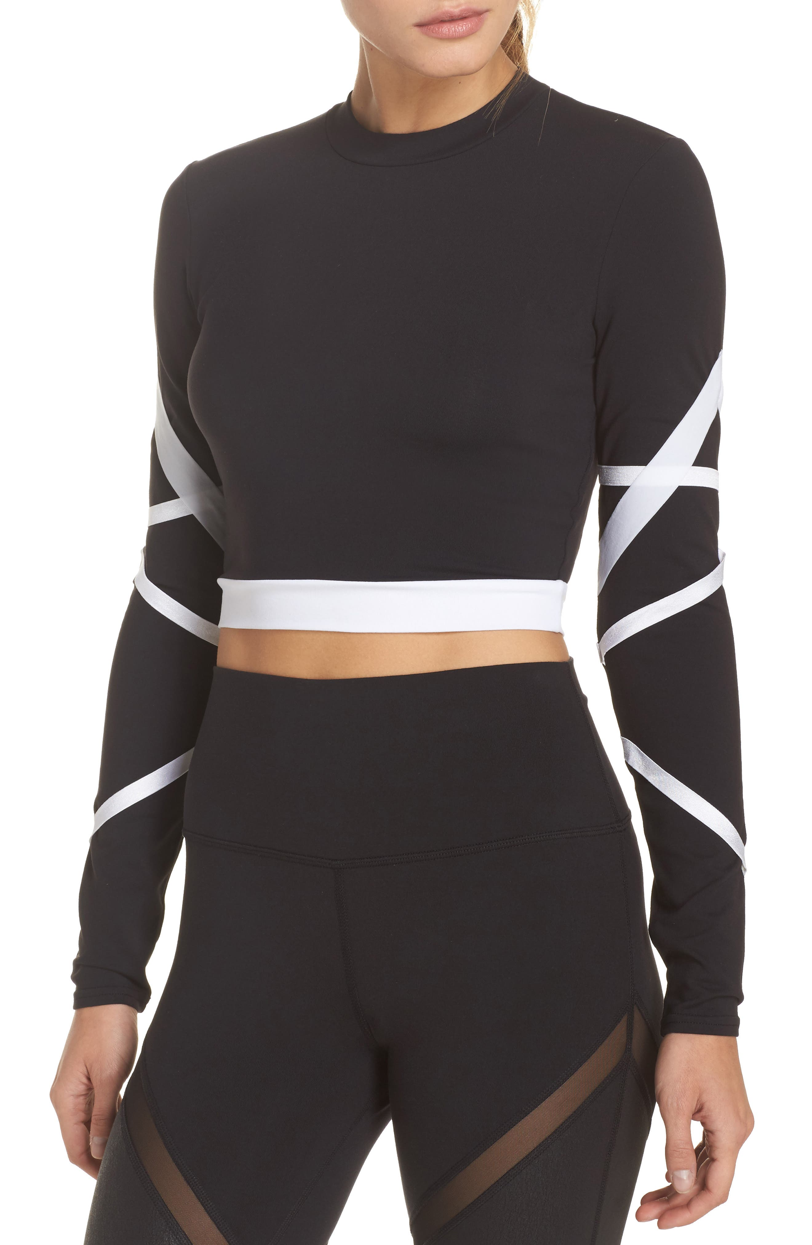 Tribe Long Sleeve Top,                         Main,                         color, Black/ White