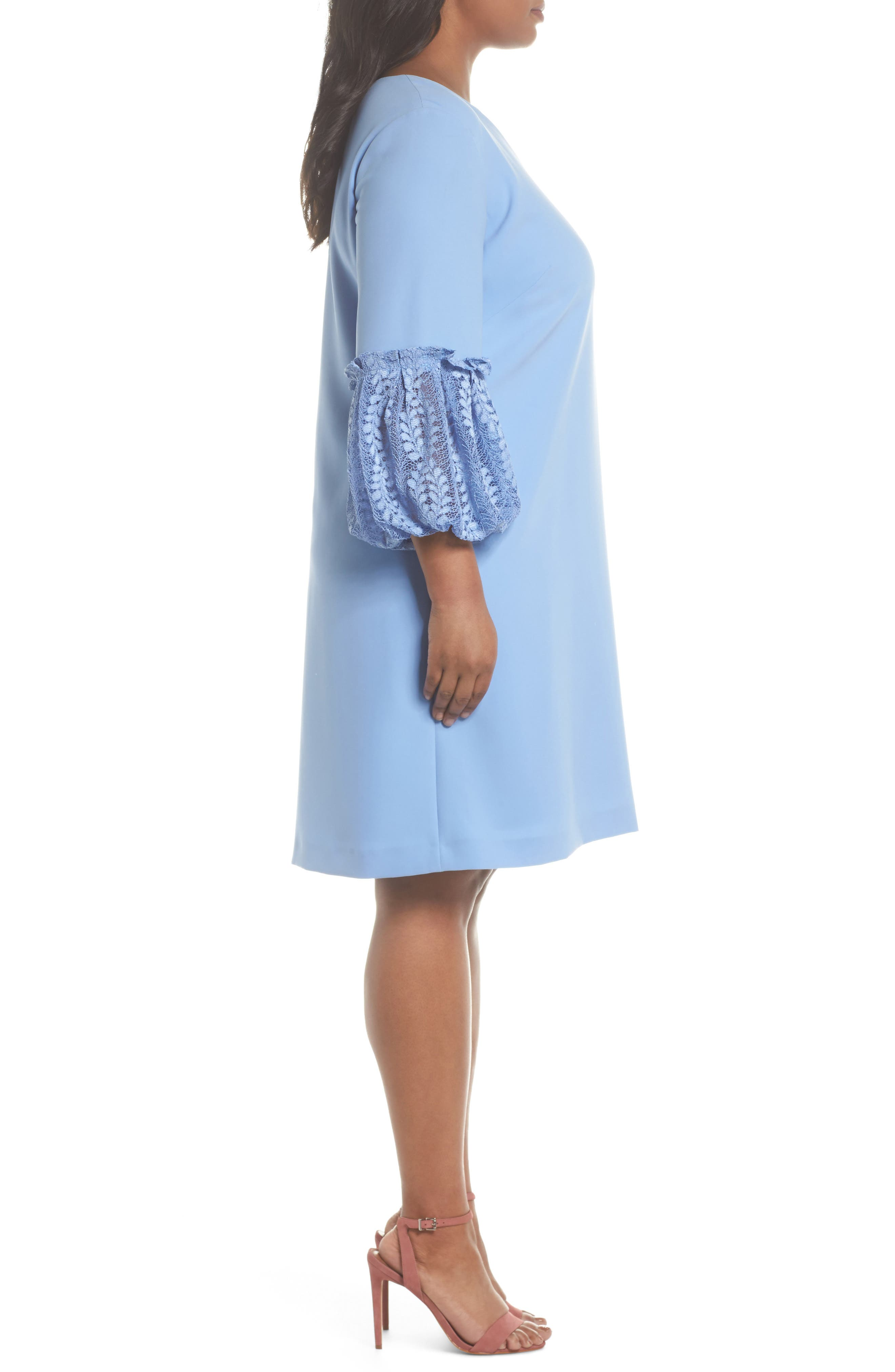 Lace Bell Sleeve Shift Dress,                             Alternate thumbnail 3, color,                             Periwinkle