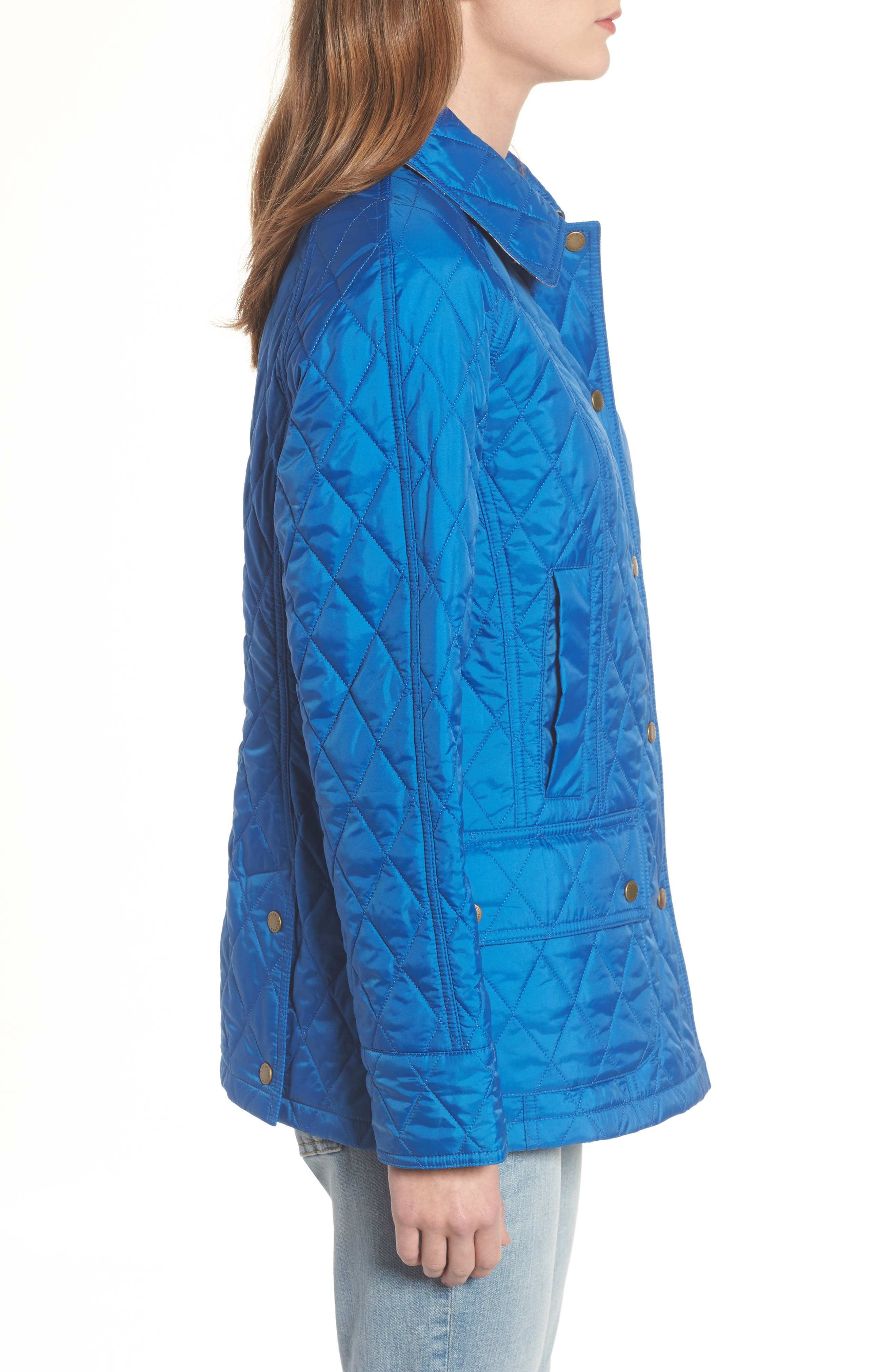 'Beadnell - Summer' Quilted Jacket,                             Alternate thumbnail 3, color,                             Victoria Blue